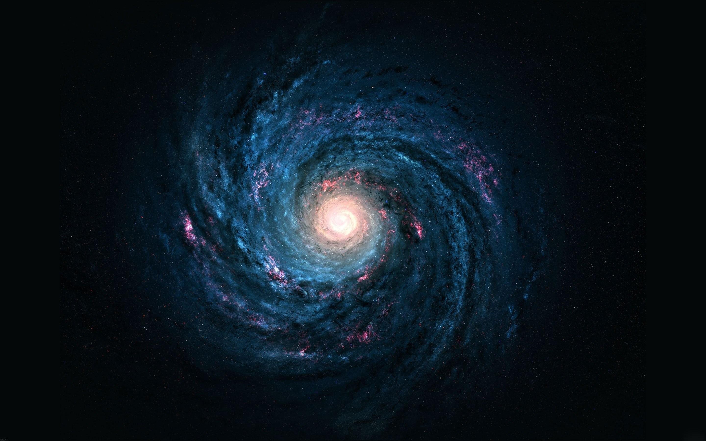Sci Fi – Galaxy Space Vortex Blue Swirl Light Wallpaper