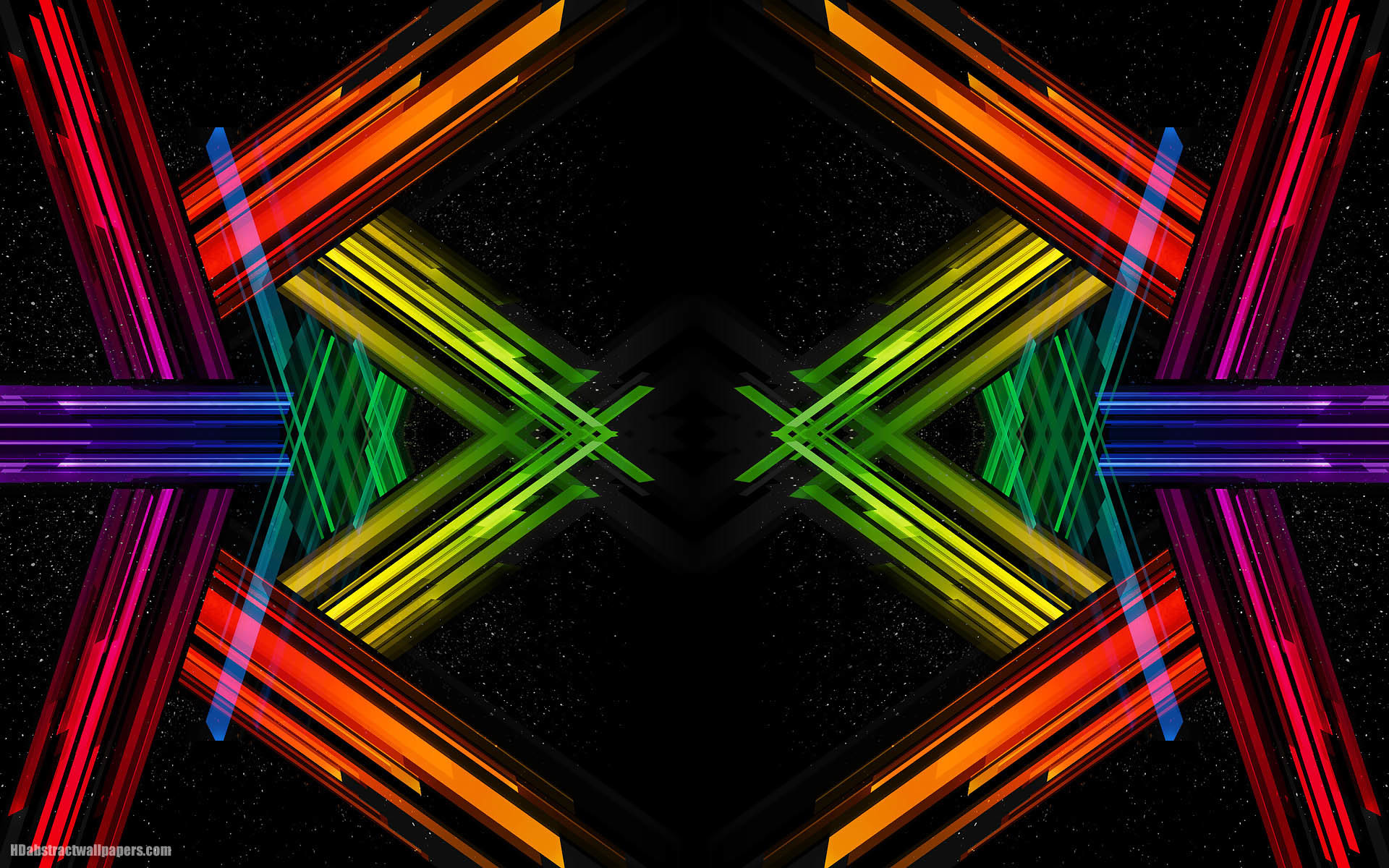 Black abstract wallpaper with colorful lines