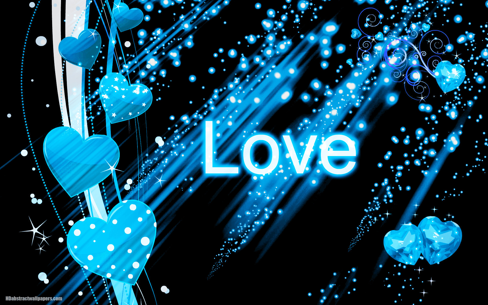 Beautiful black abstract wallpaper with blue love hearts and the text love.  Send this background to your boy or girlfriend, just to say that you are  deeply …