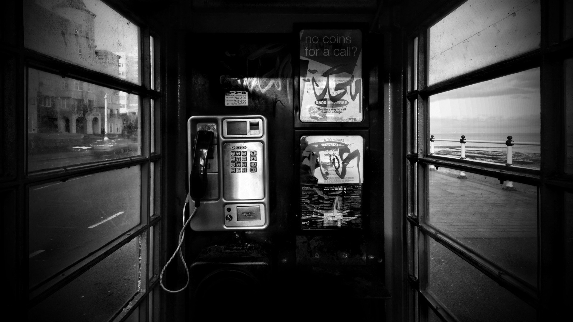 Wallpaper phone, booth, black white, city