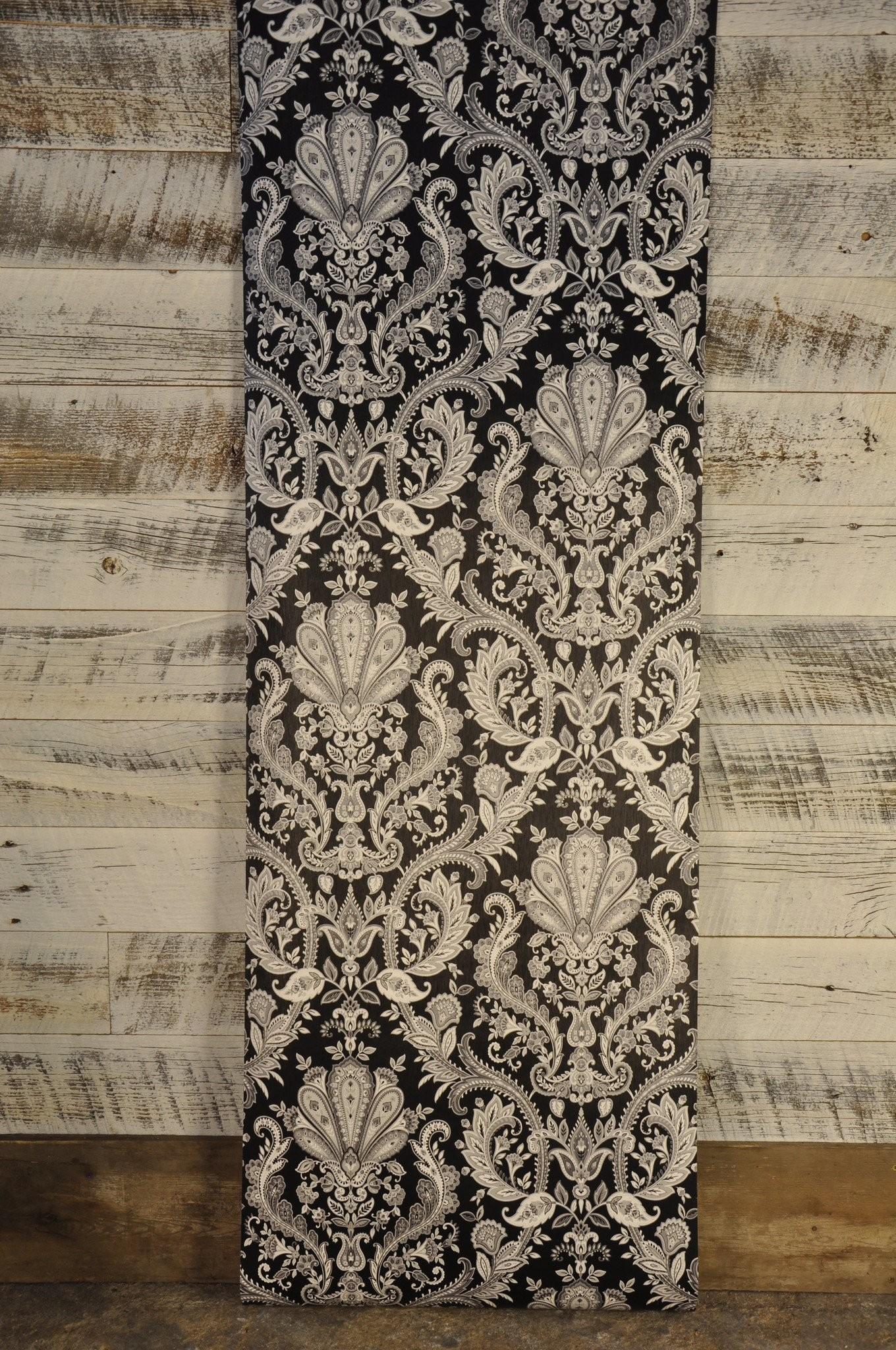 Gray Silver White Paisley on Black Wallpaper MD29430