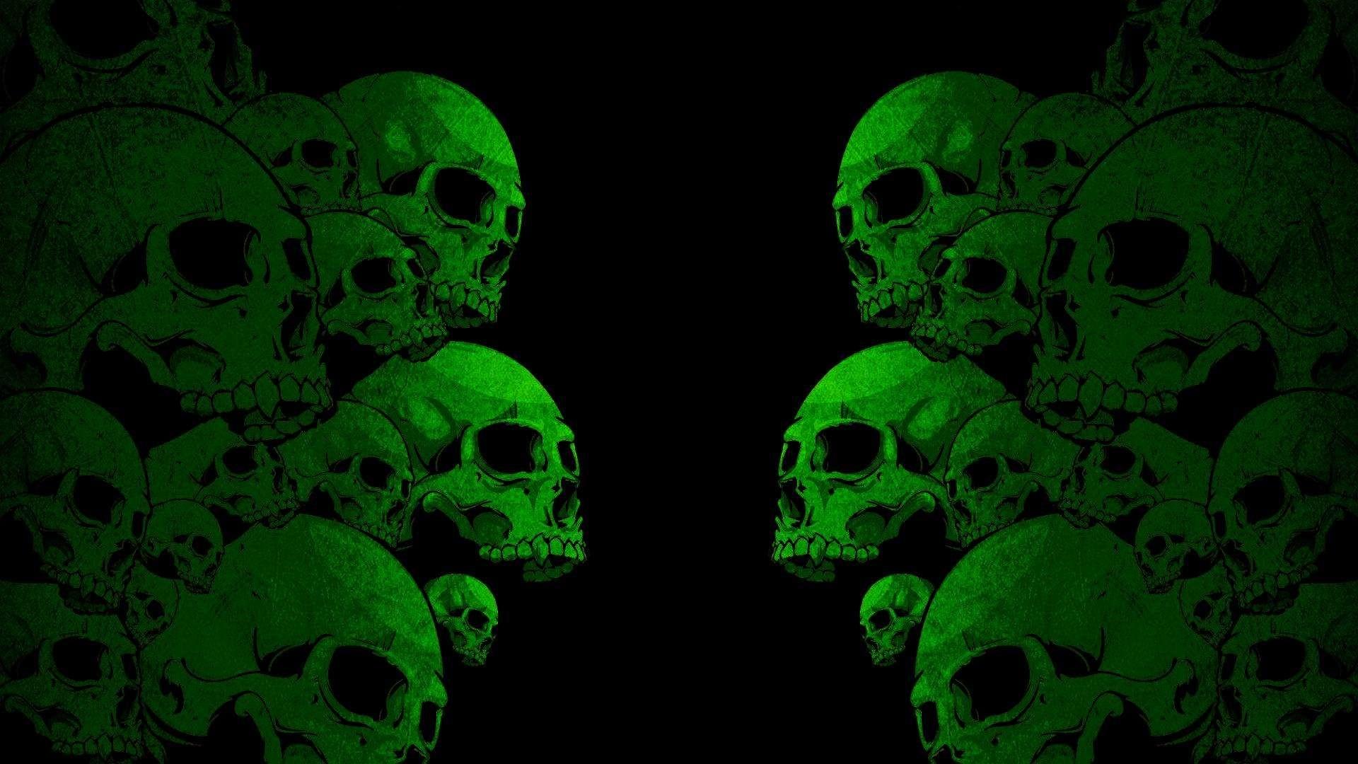 green skull wallpaper
