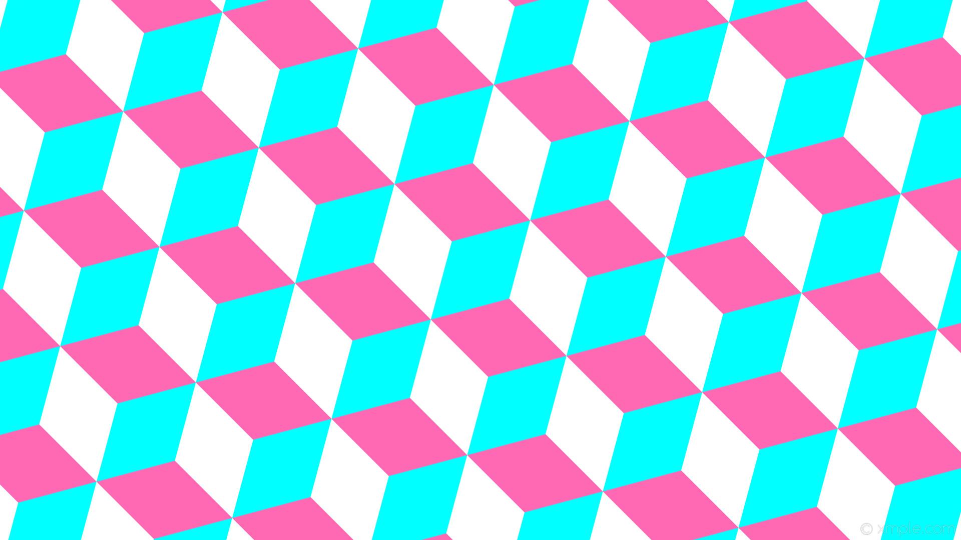 wallpaper blue 3d cubes pink white aqua cyan hot pink #00ffff #ff69b4  #ffffff