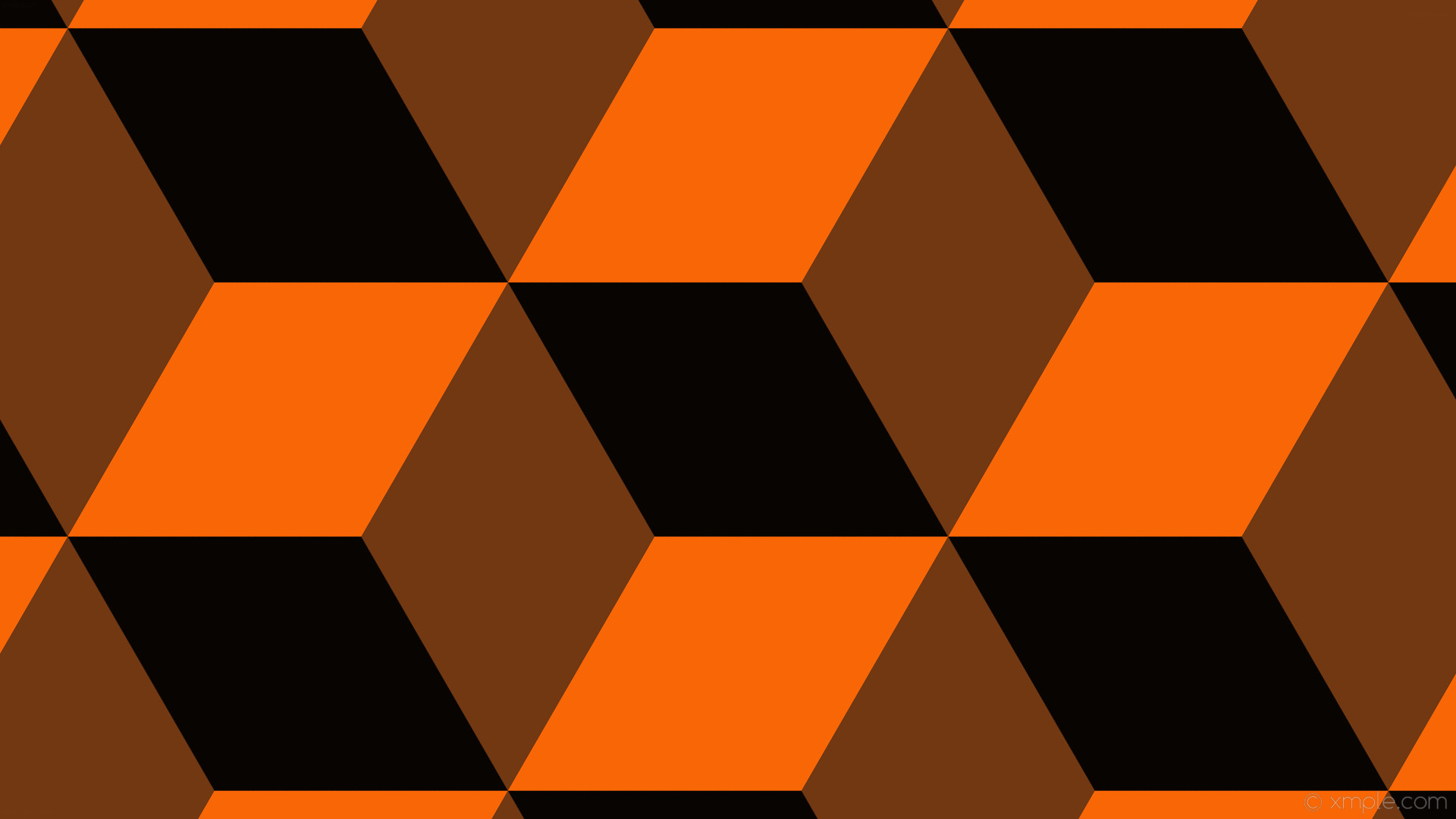 wallpaper orange 3d cubes black #070402 #723812 #f96606 330° 387px