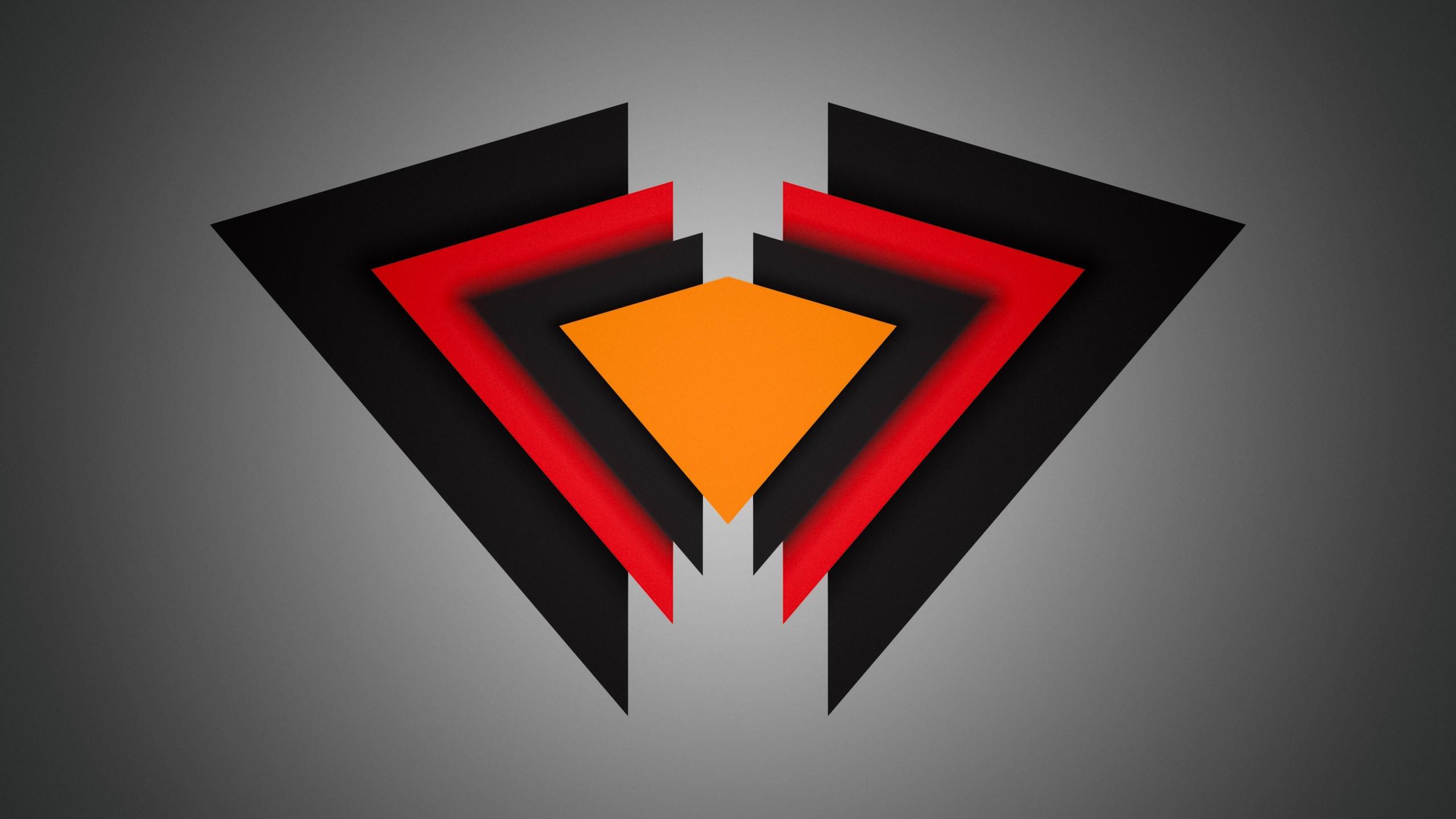 General triangle material minimal red black orange vignette