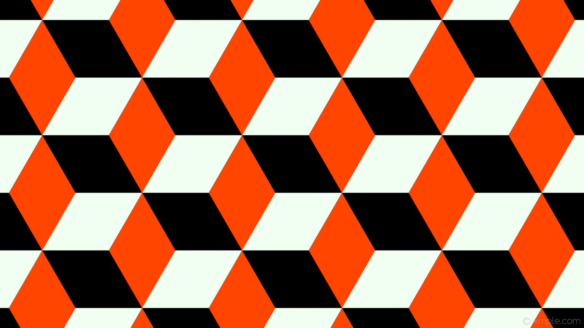 wallpaper white 3d cubes orange black orangered honeydew #000000 #ff4500  #f0fff0 330°