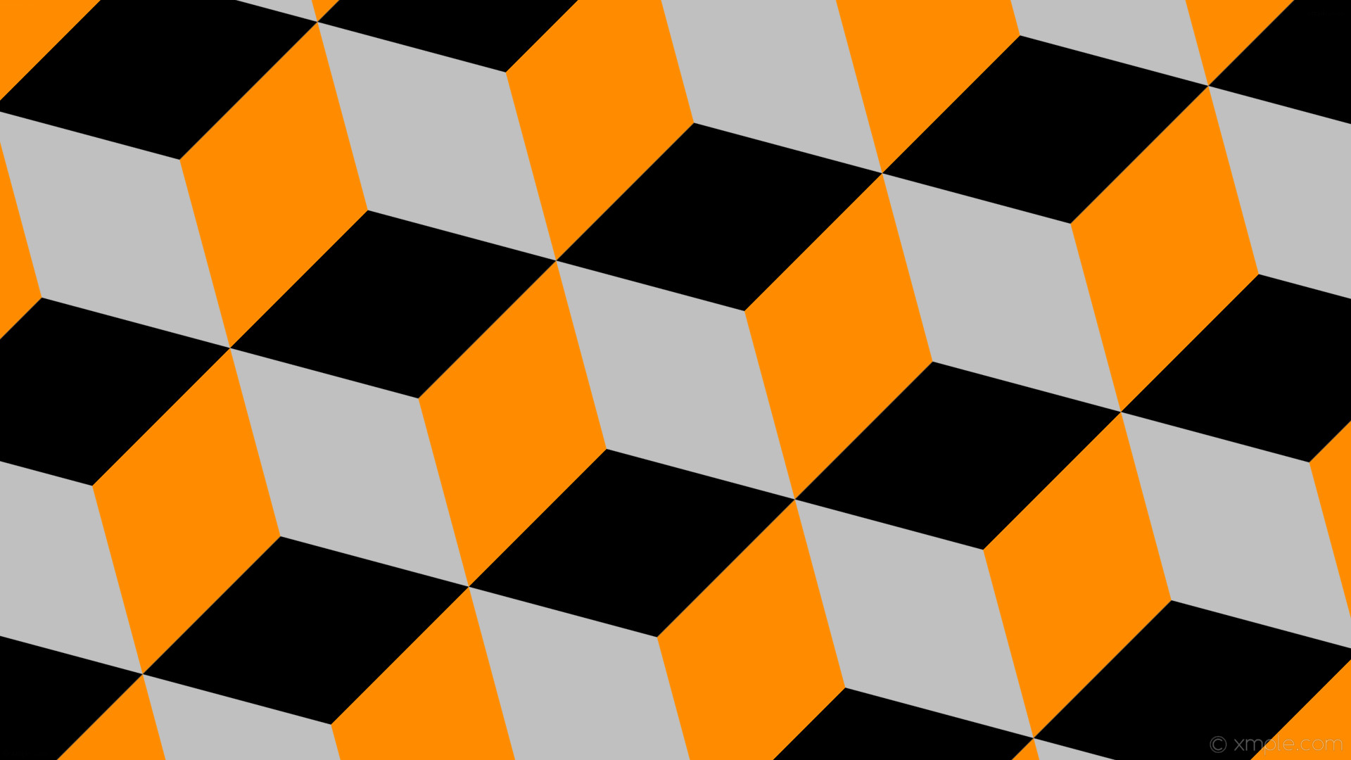 wallpaper grey 3d cubes black orange silver dark orange #c0c0c0 #ff8c00  #000000 135