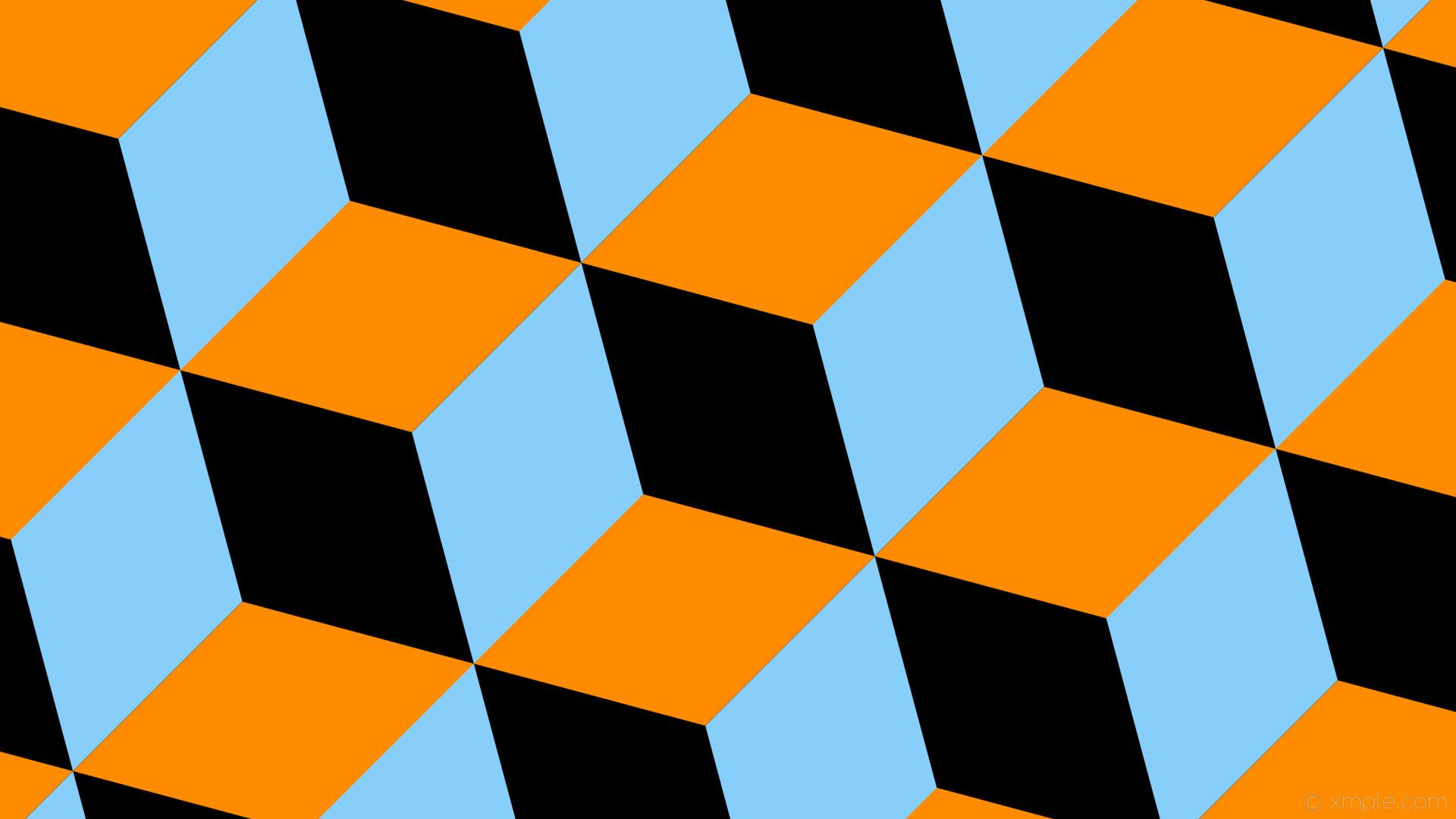 wallpaper blue 3d cubes orange black light sky blue dark orange #000000  #87cefa #