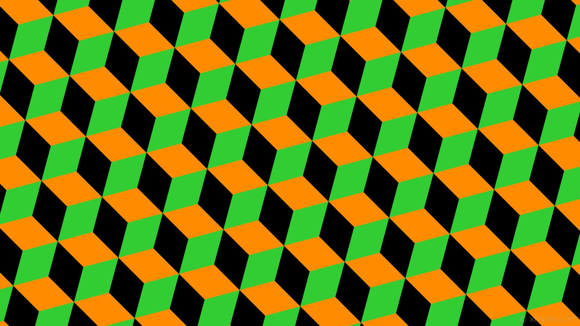 wallpaper green black orange 3d cubes lime green dark orange #32cd32  #ff8c00 #000000