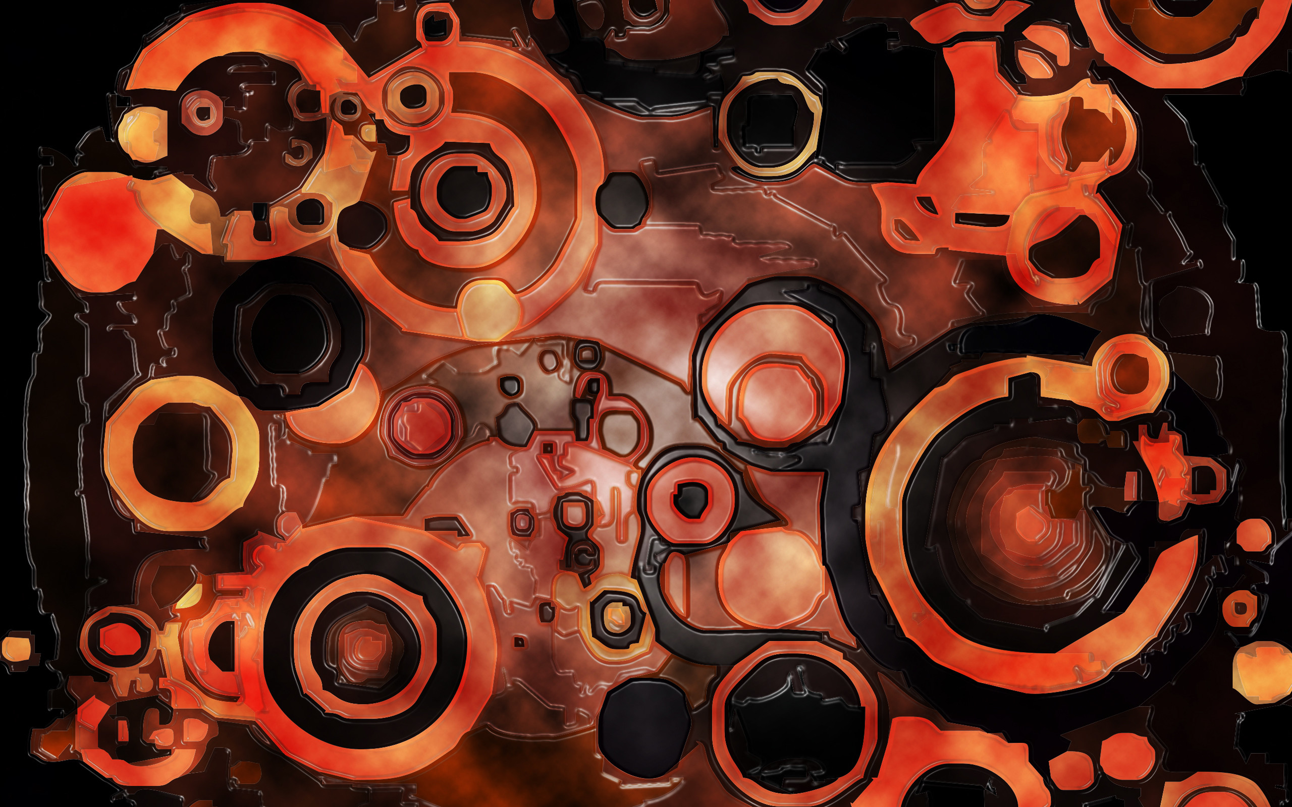 Abstract 3D Artistic Wallpaper in Orange and Black