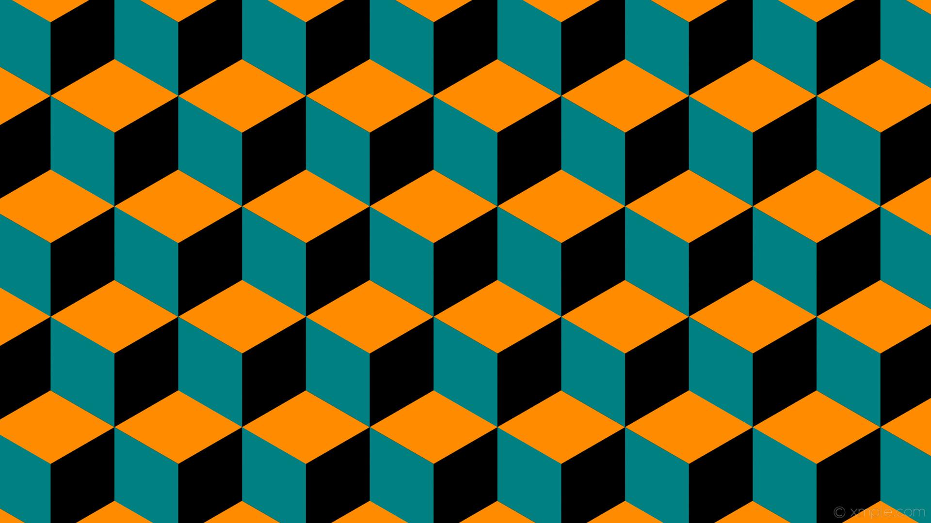 wallpaper green orange 3d cubes black dark orange teal #000000 #ff8c00  #008080 240