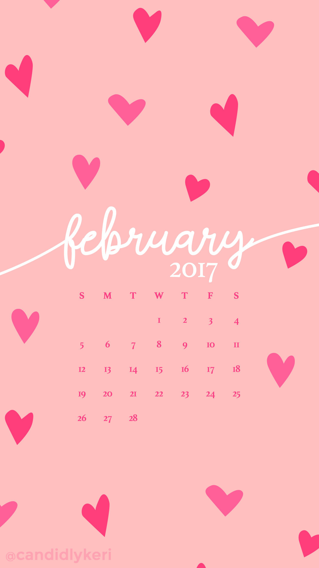 Pink hearts February calendar 2017 wallpaper you can download for free on  the blog! For