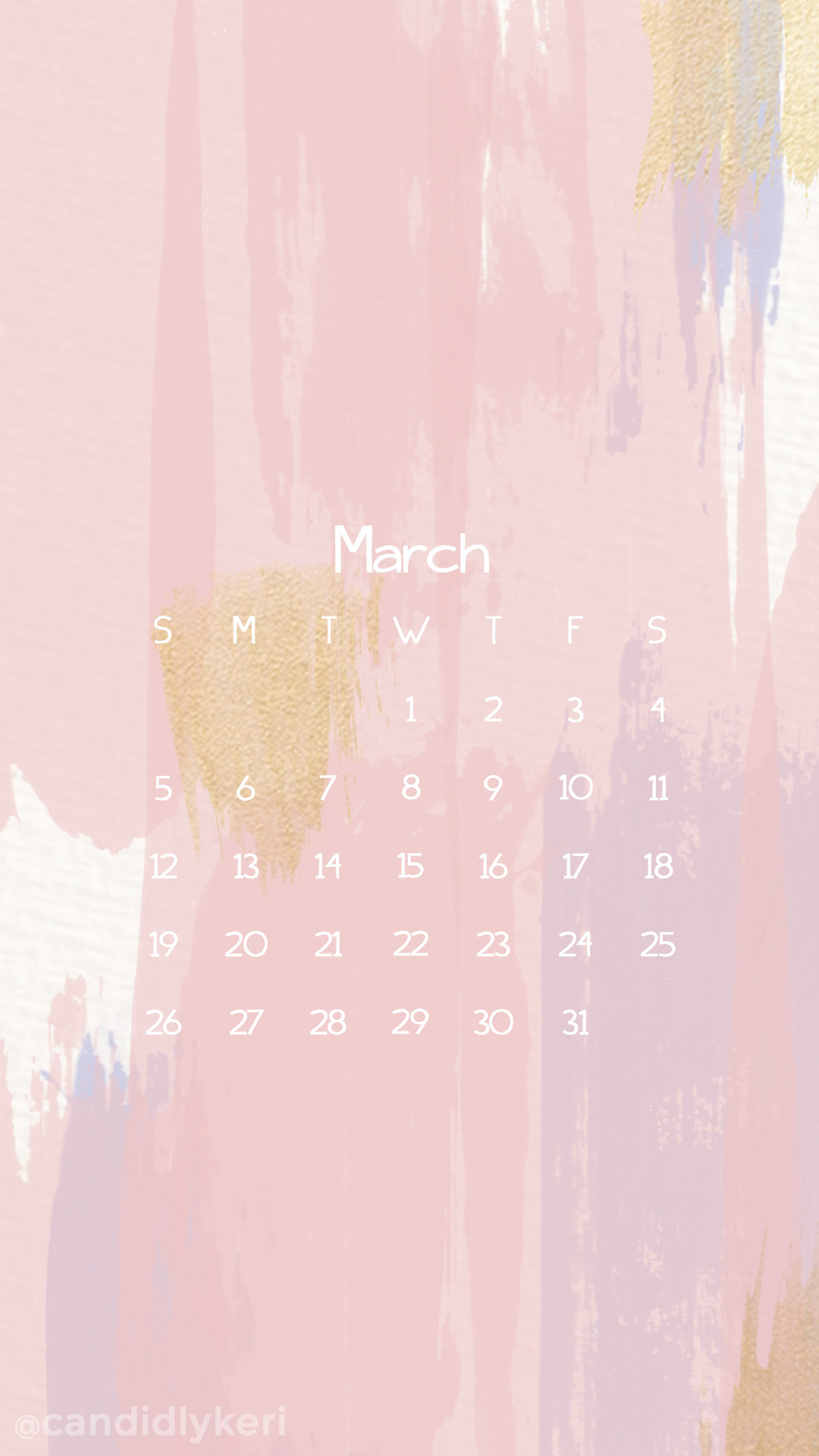 Pink stripes paint with blue, lavender and gold March calendar 2017  wallpaper you can download