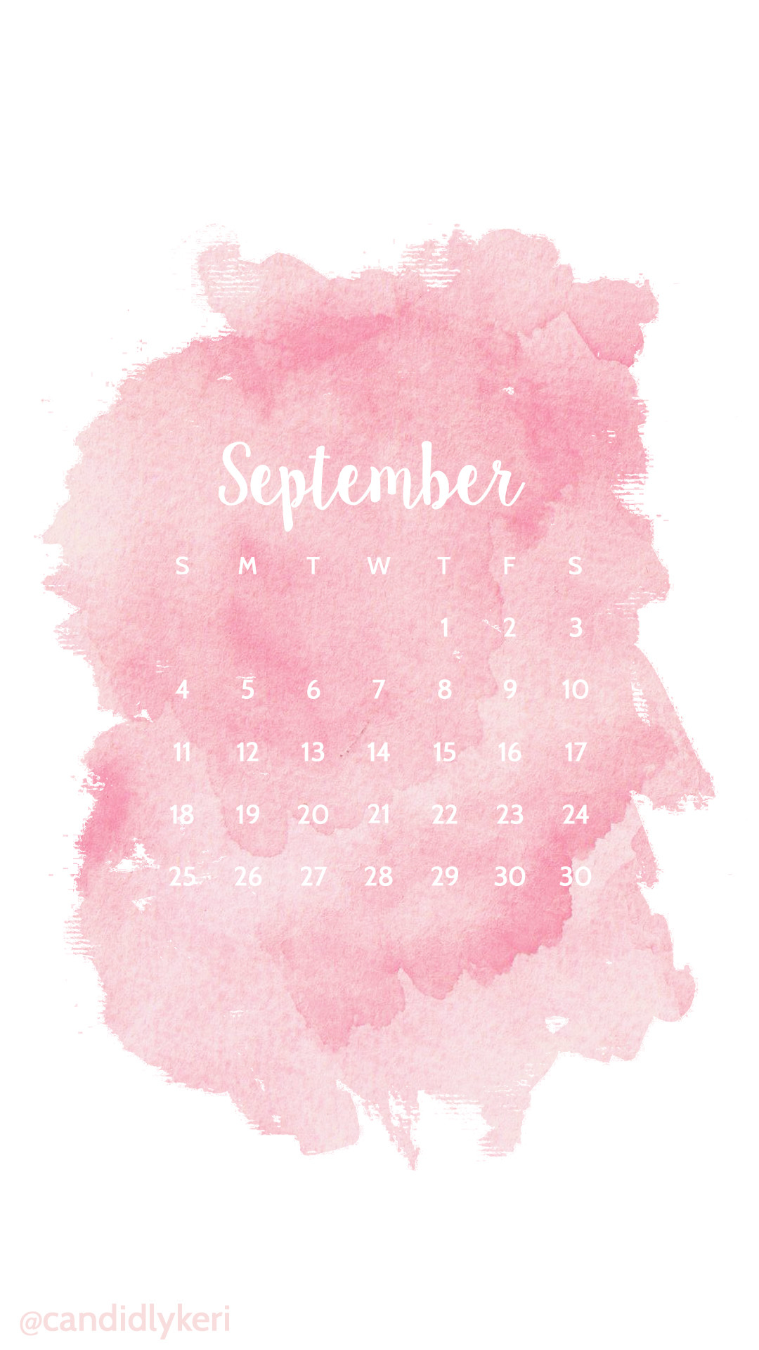 Pink blush watercolor September calendar 2016 wallpaper you can download  for free on the blog!