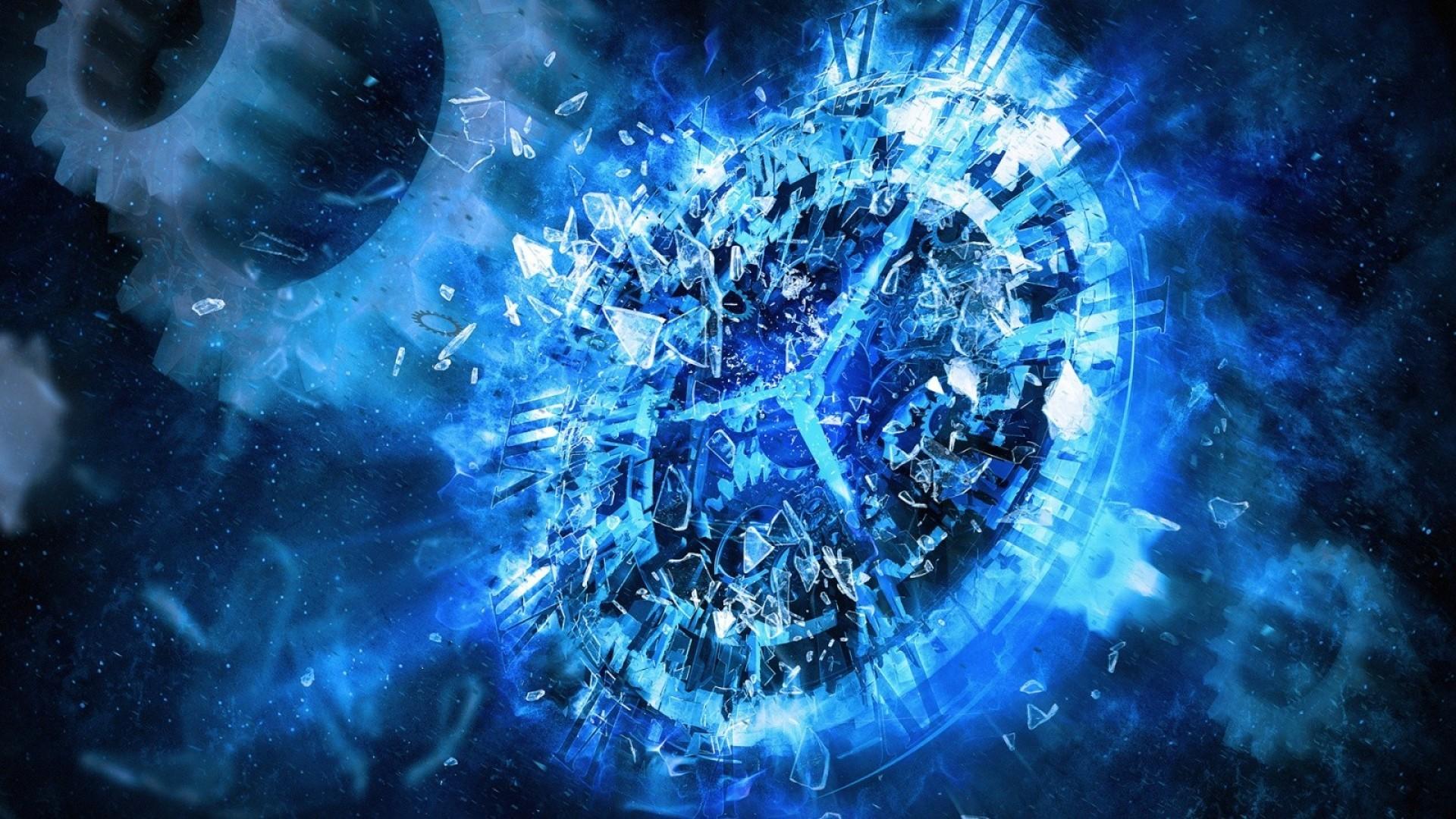 widescreen blue clock abstract hd desktop wallpaper 1920×1080