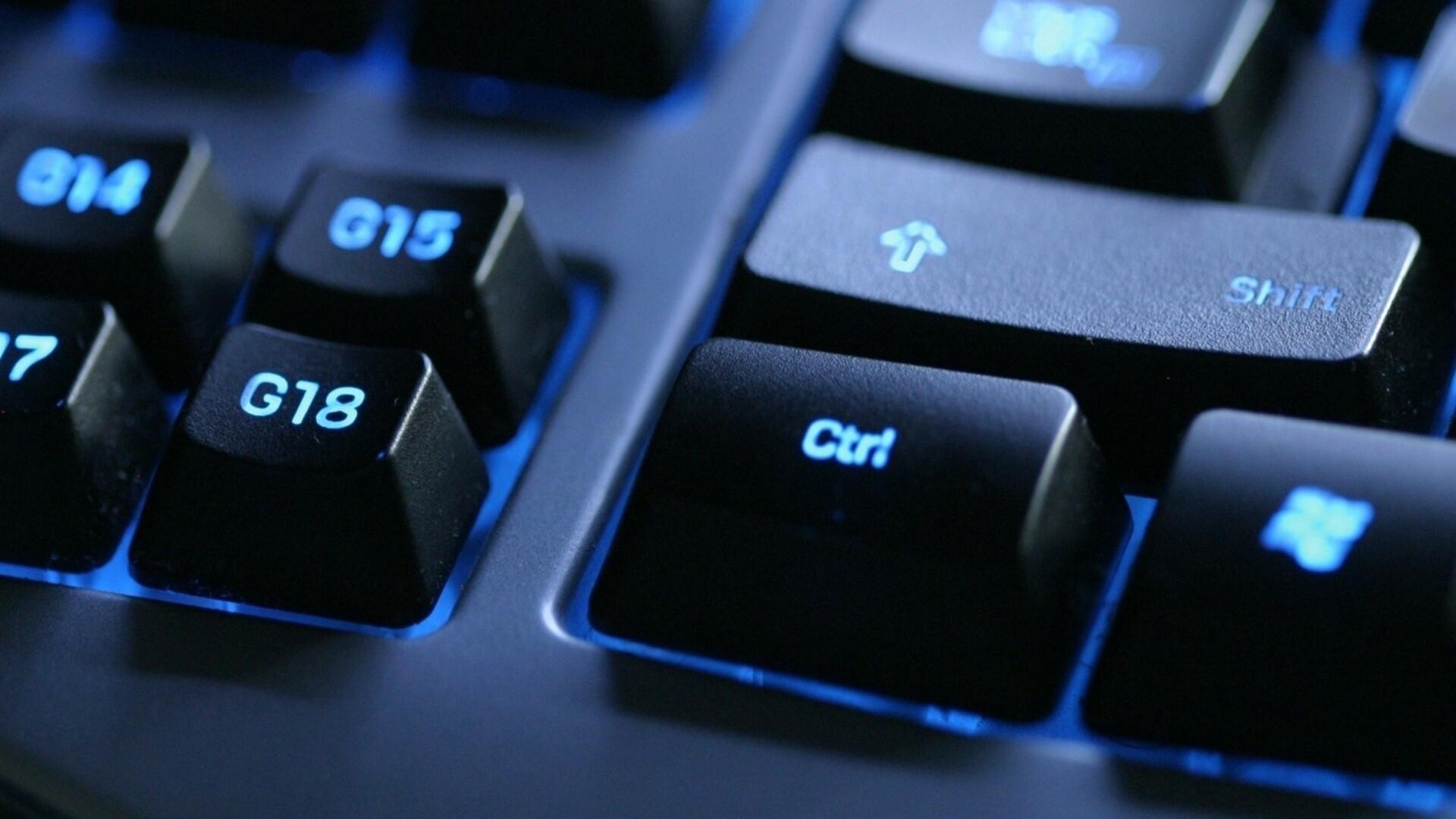 Wallpaper keyboard, backlit, black, blue