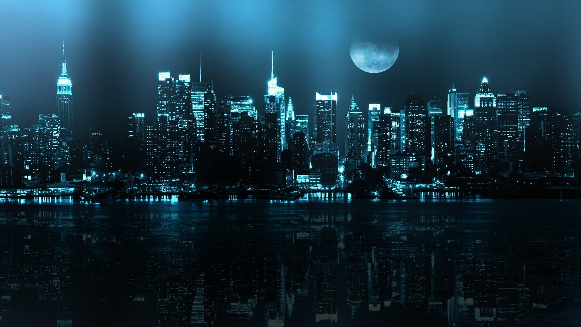 Blue cityscape HD Wallpaper 1920×1080