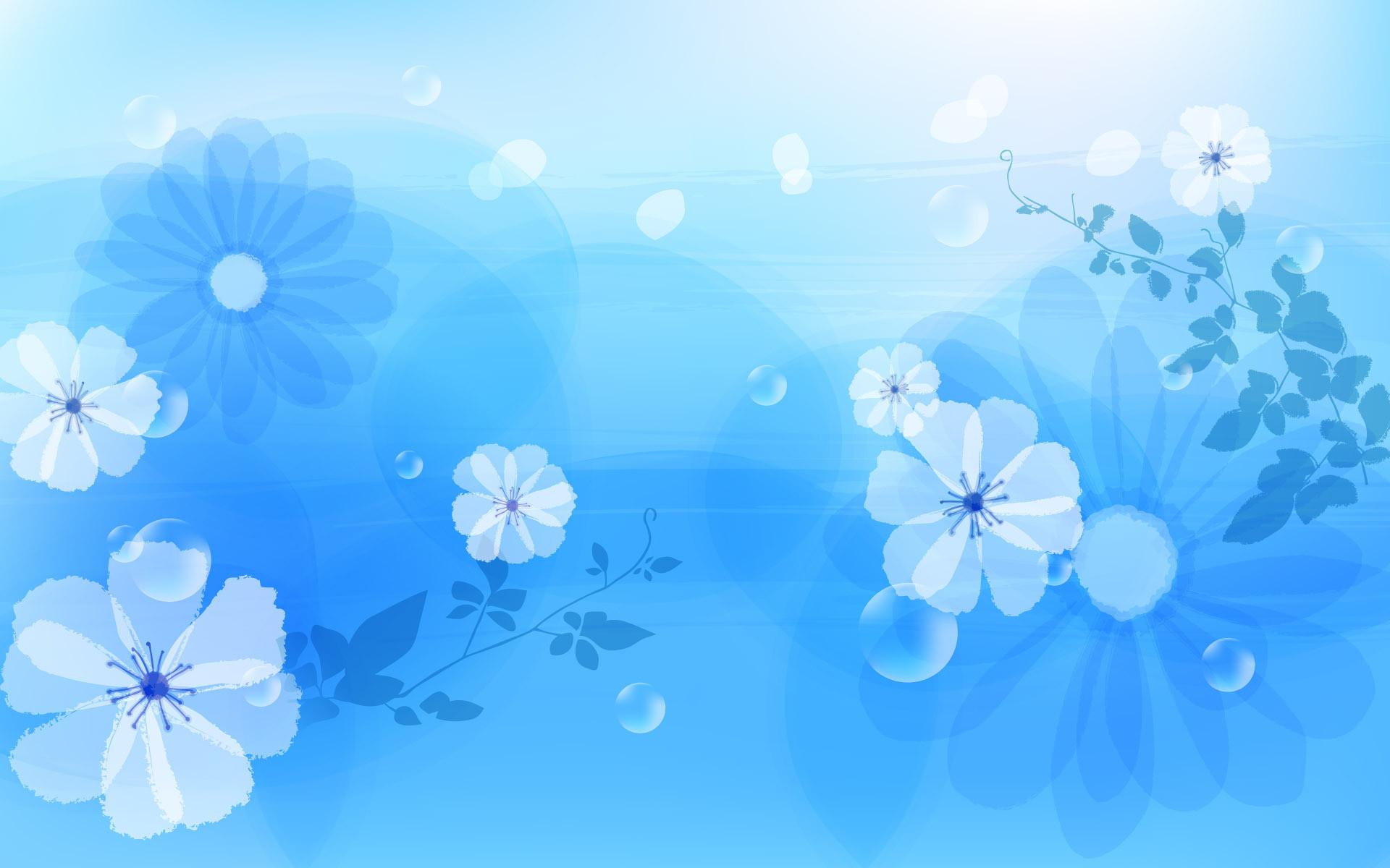 Flower on Blue Wallpaper Desktop Wallpaper