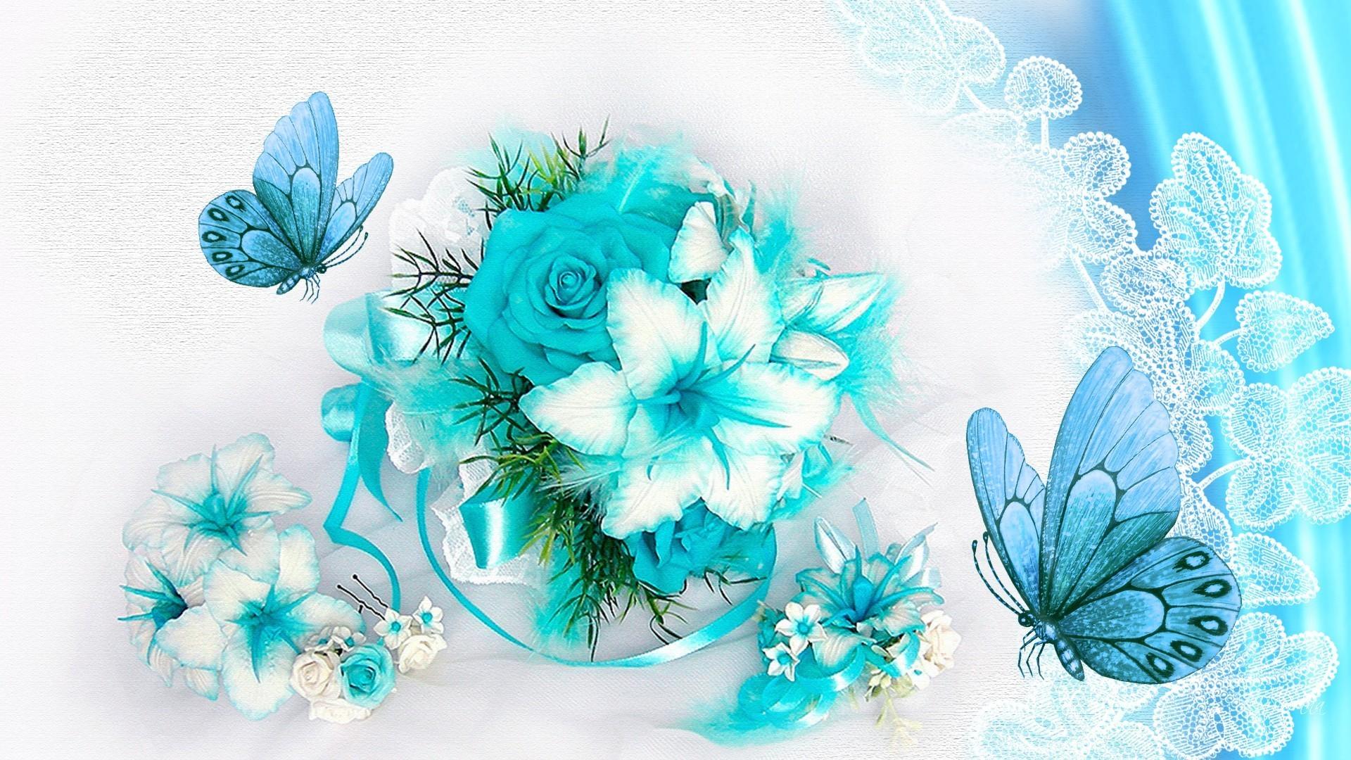 #77CCDD Color – Fleurs Airy Cyan Lace Light Roses Floral Papillon Butterfly  Aqua Aquamarine Butterflies