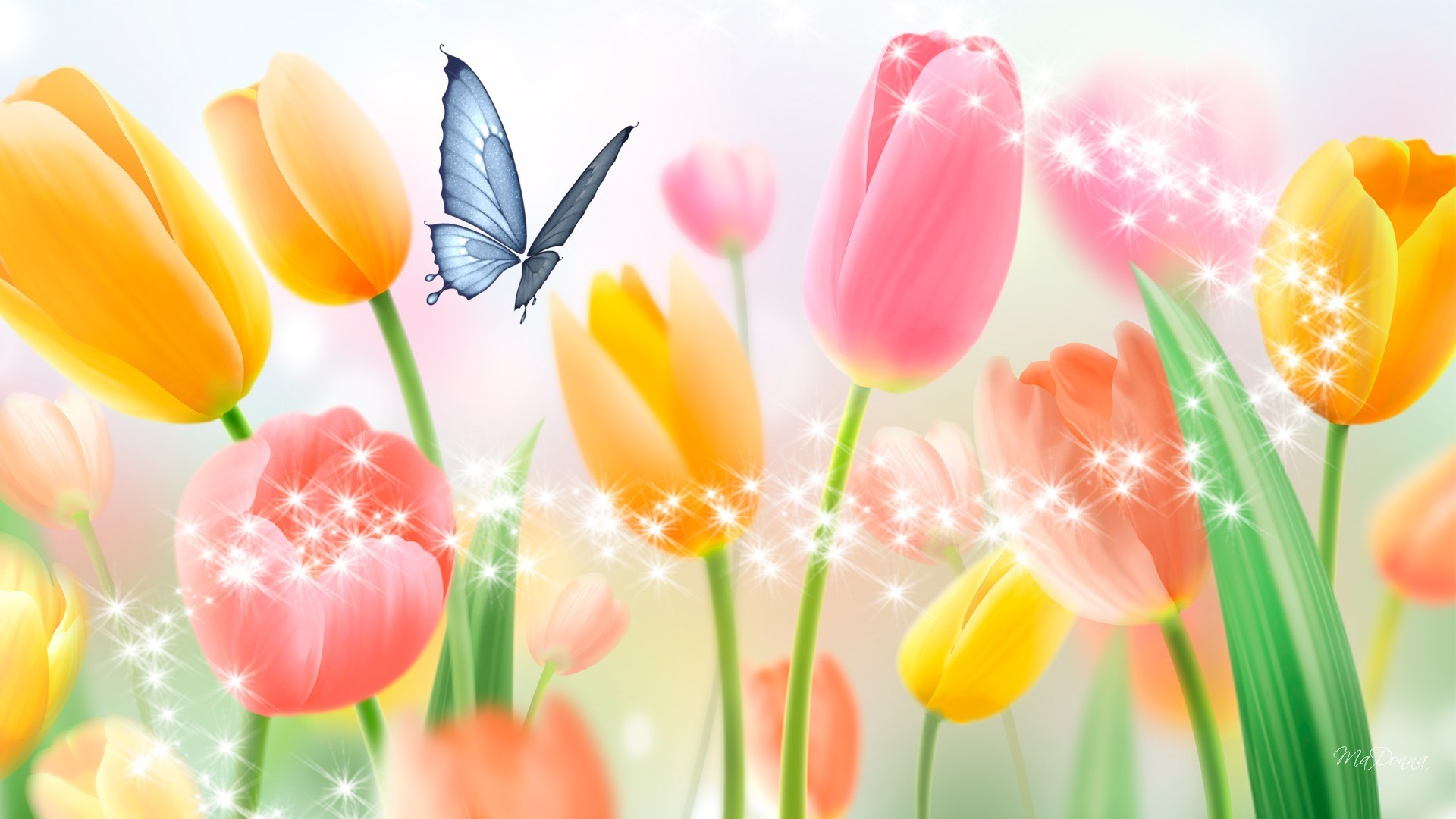 Pastels Tag – Spring Light Persona Sparkles Shine Bright Butterfly Flowers  Stars Tulips Firefox Pastels Wallpaper