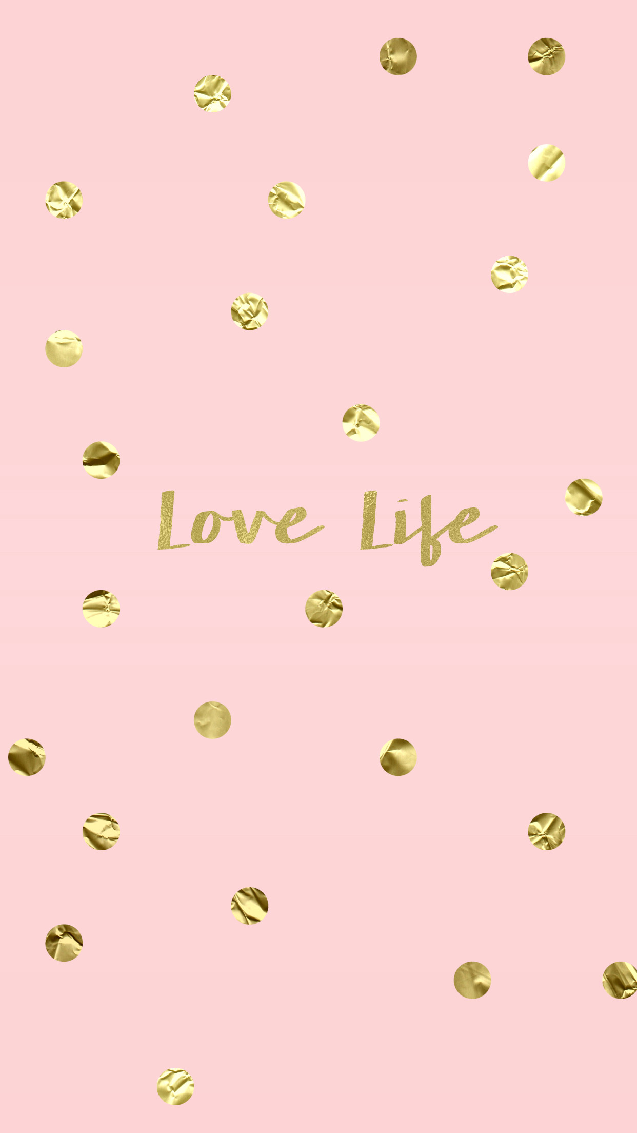 Love Life Blush Pink Gold iPhone Wallpaper Background