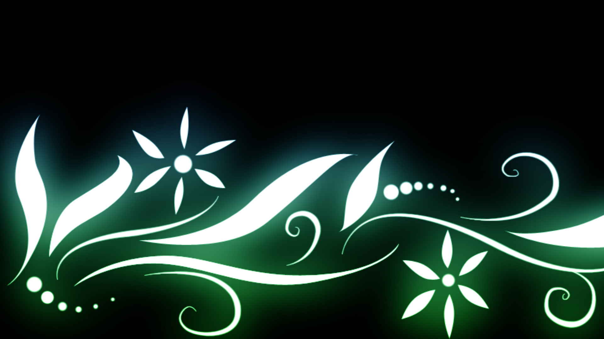 … Floral Glowy Blue Green Wallpaper by DefectiveDre