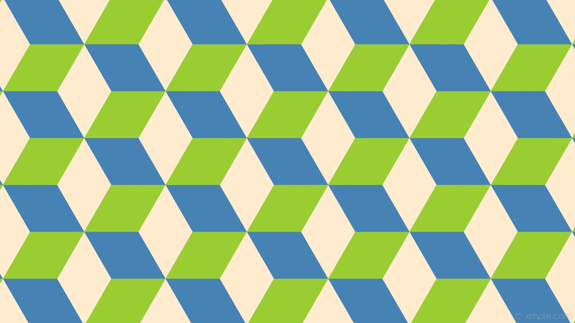 wallpaper brown 3d cubes blue green steel blue blanched almond yellow green  #4682b4 #ffebcd