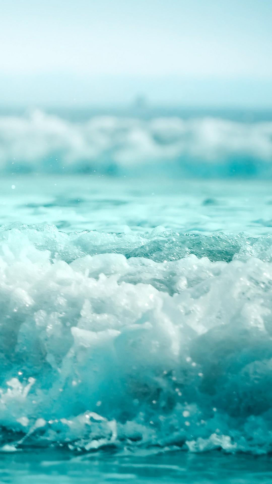 Nature iPhone 6 Plus Wallpapers – Blue Sea Waves Splashing iPhone 6 Plus HD  Wallpaper
