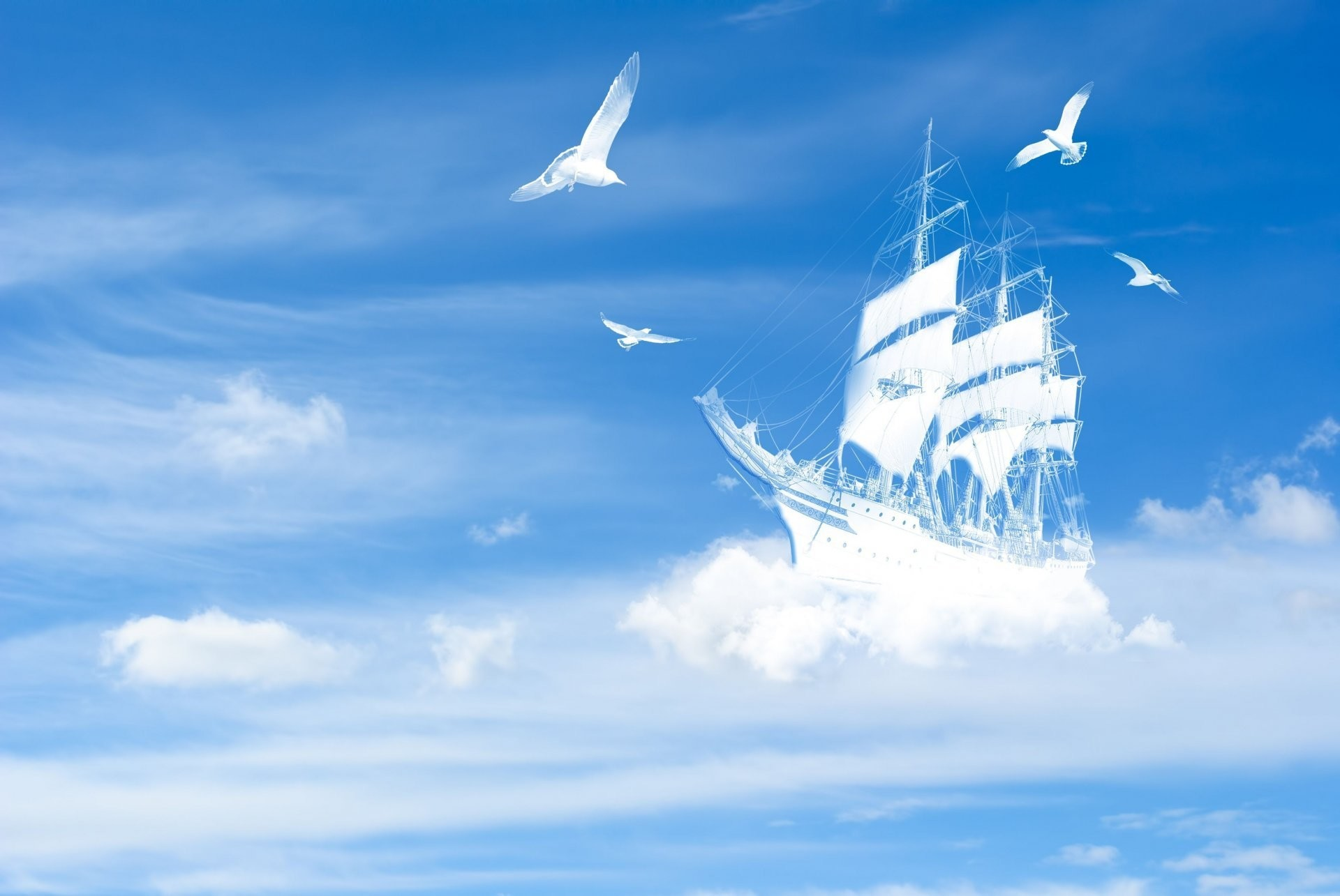 landscape sky clouds ship ships yacht poultry birds white blue background  wallpaper widescreen full screen widescreen