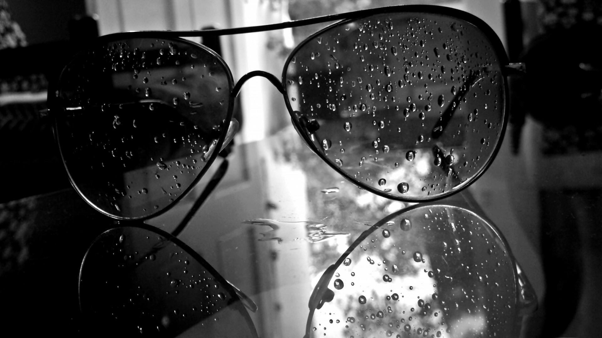 Glasses Monochrome Water Drops Aviator Black White For Desktop