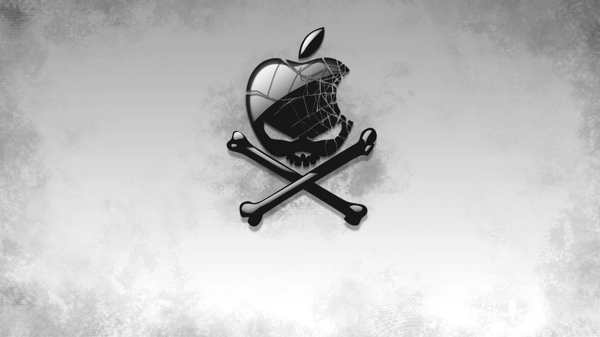 Preview wallpaper black, apple, bones, skull 1920×1080
