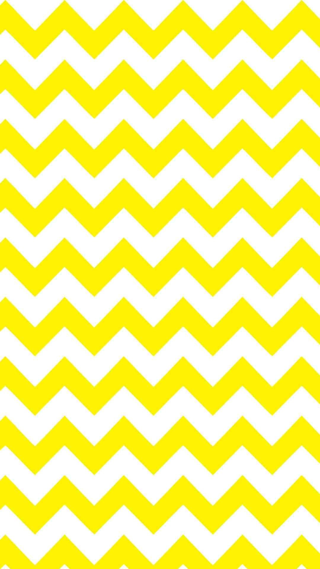 Yellow and White Chevron iPhone 6 Plus Wallpaper – Zigzag Pattern, #iPhone  #6