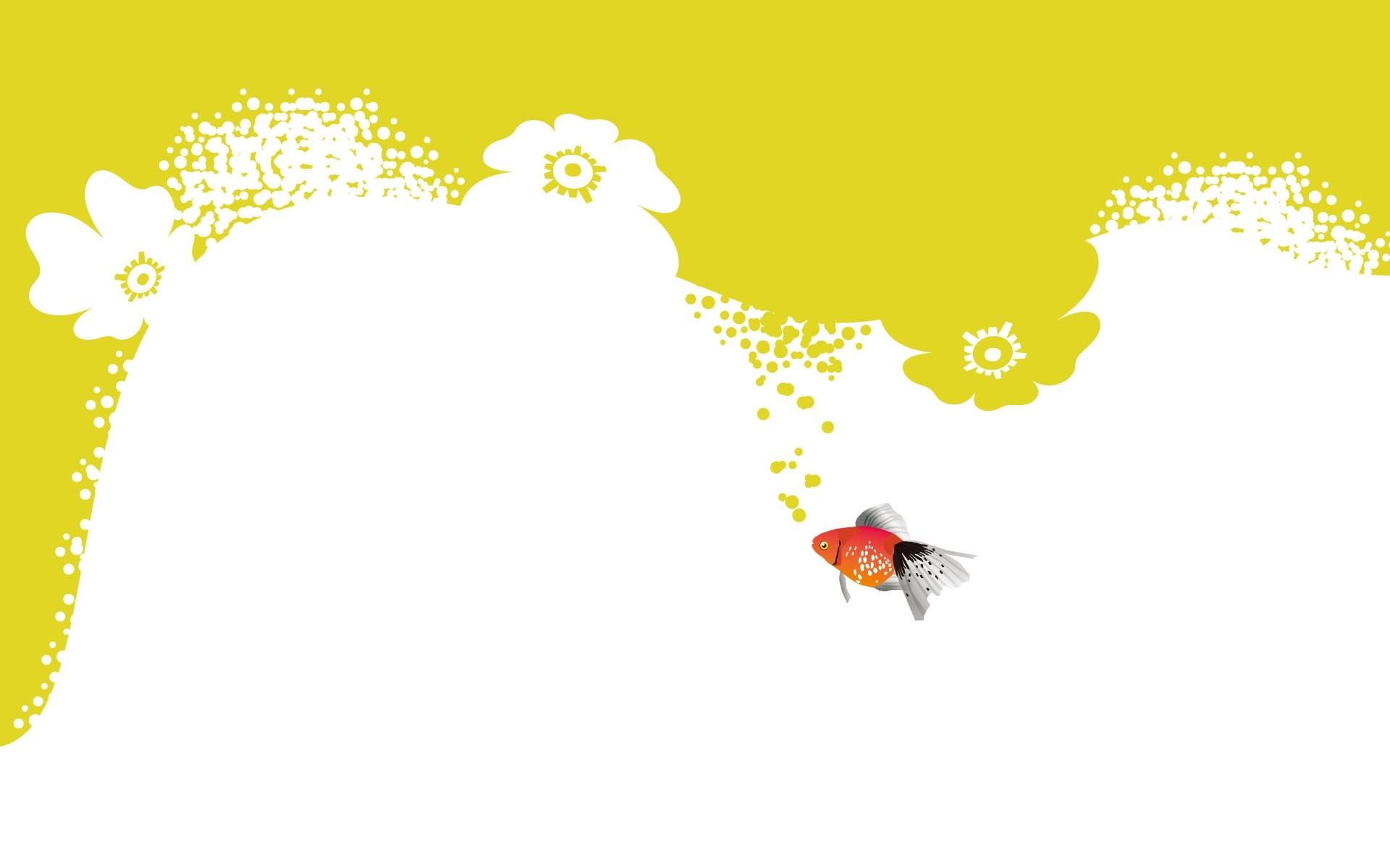 Wallpaper fish, underwater, yellow, white