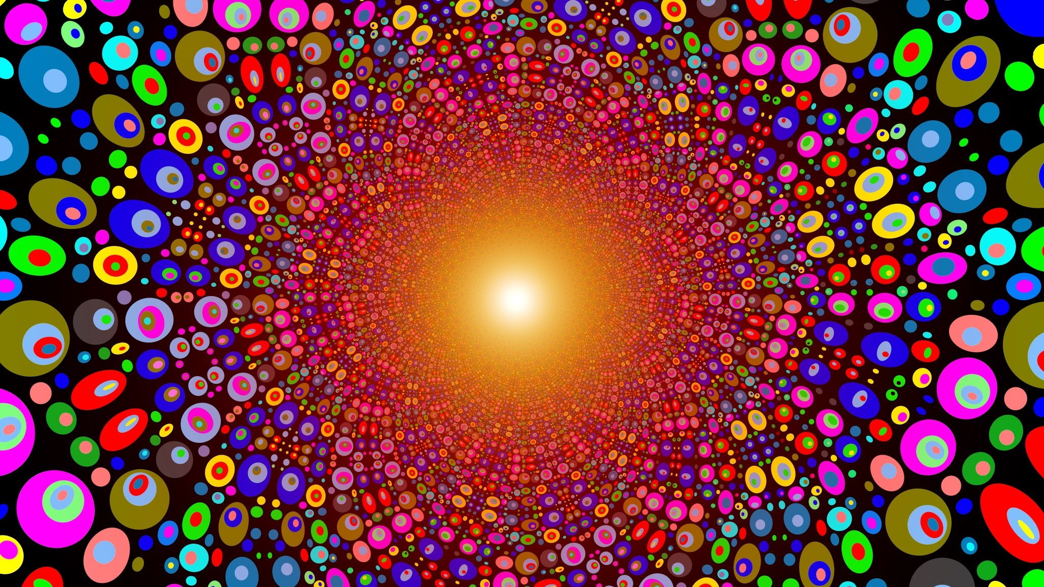 Preview wallpaper colorful, bright, circles, texture, line, explosion  2048×1152