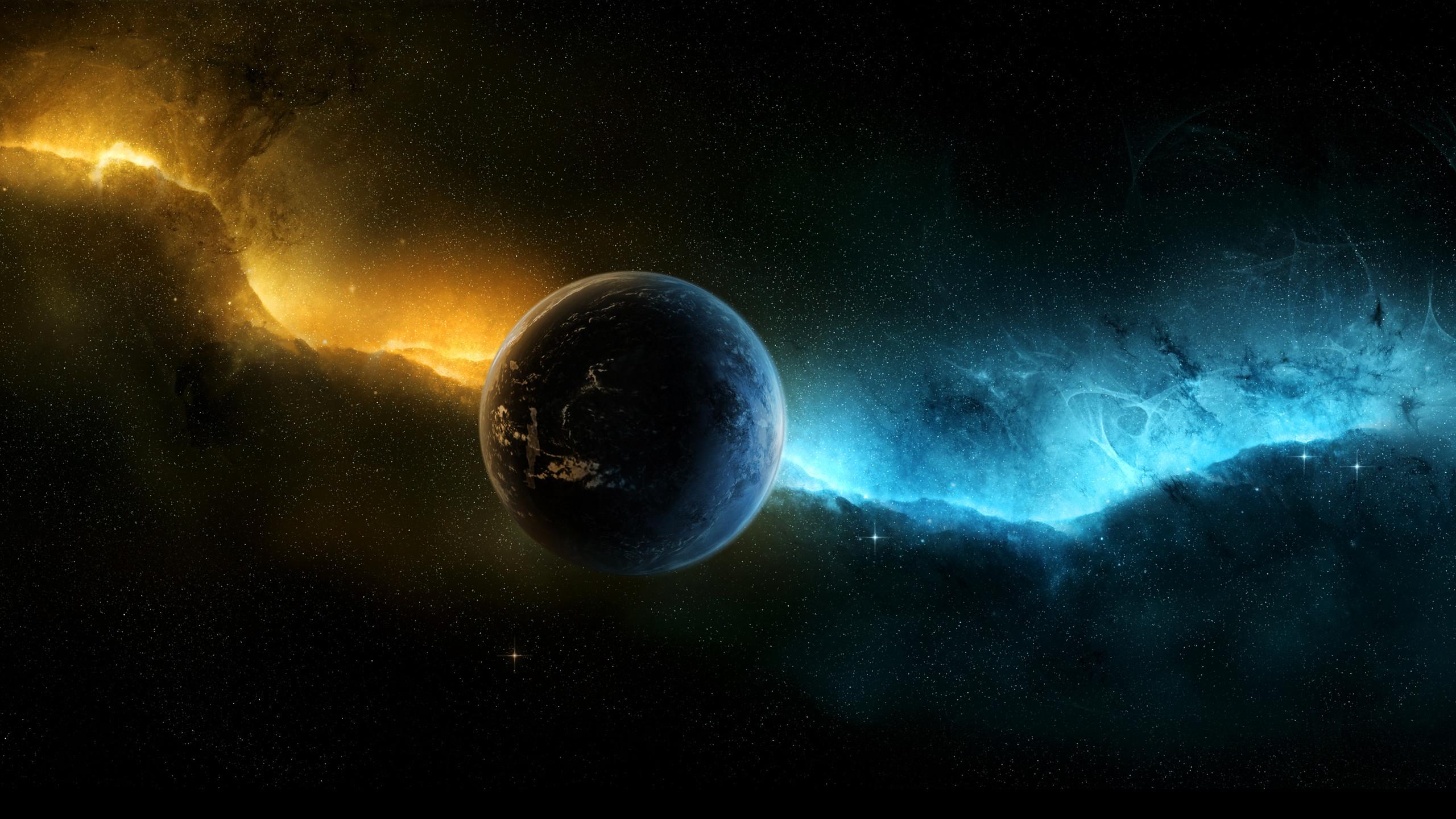 Sci Fi – Planet Blue Yellow Light Wallpaper
