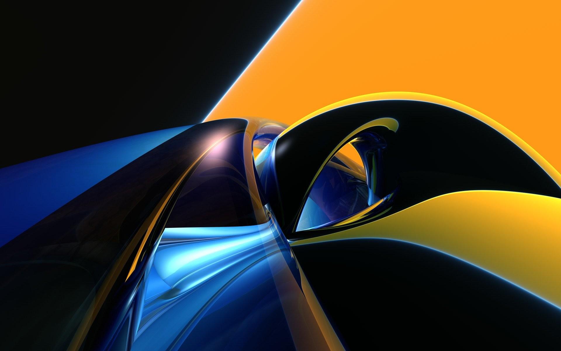 Abstract – Shapes Yellow Blue Black 3D Digital Abstract CGI Wallpaper