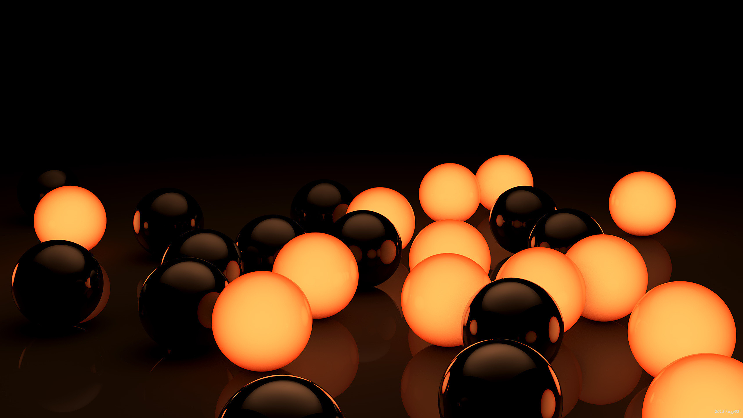 Black and Orange Bubbles in Wallpaper 3D