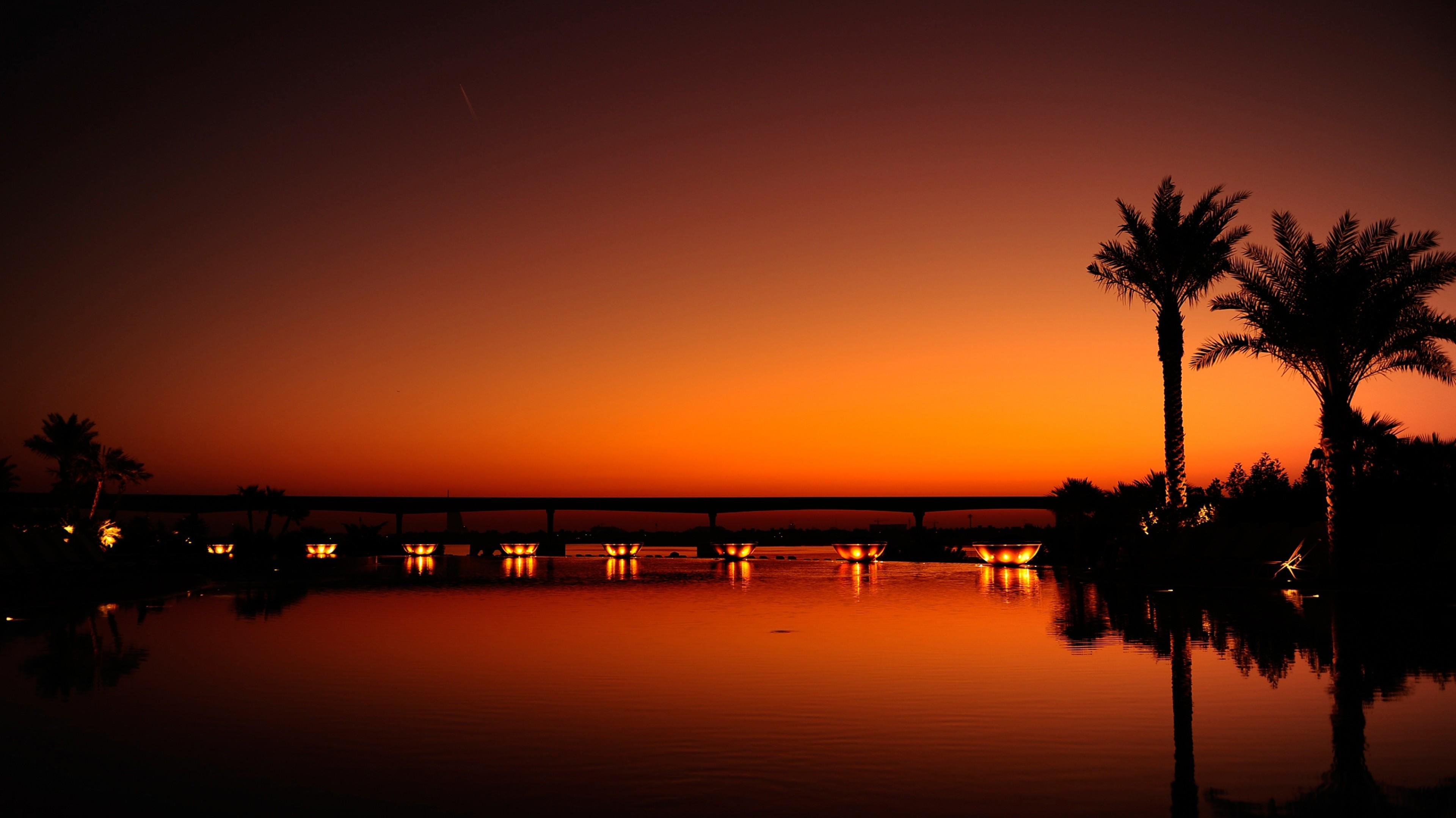 Preview wallpaper dubai, night, evening, sunset, orange, black, palm trees