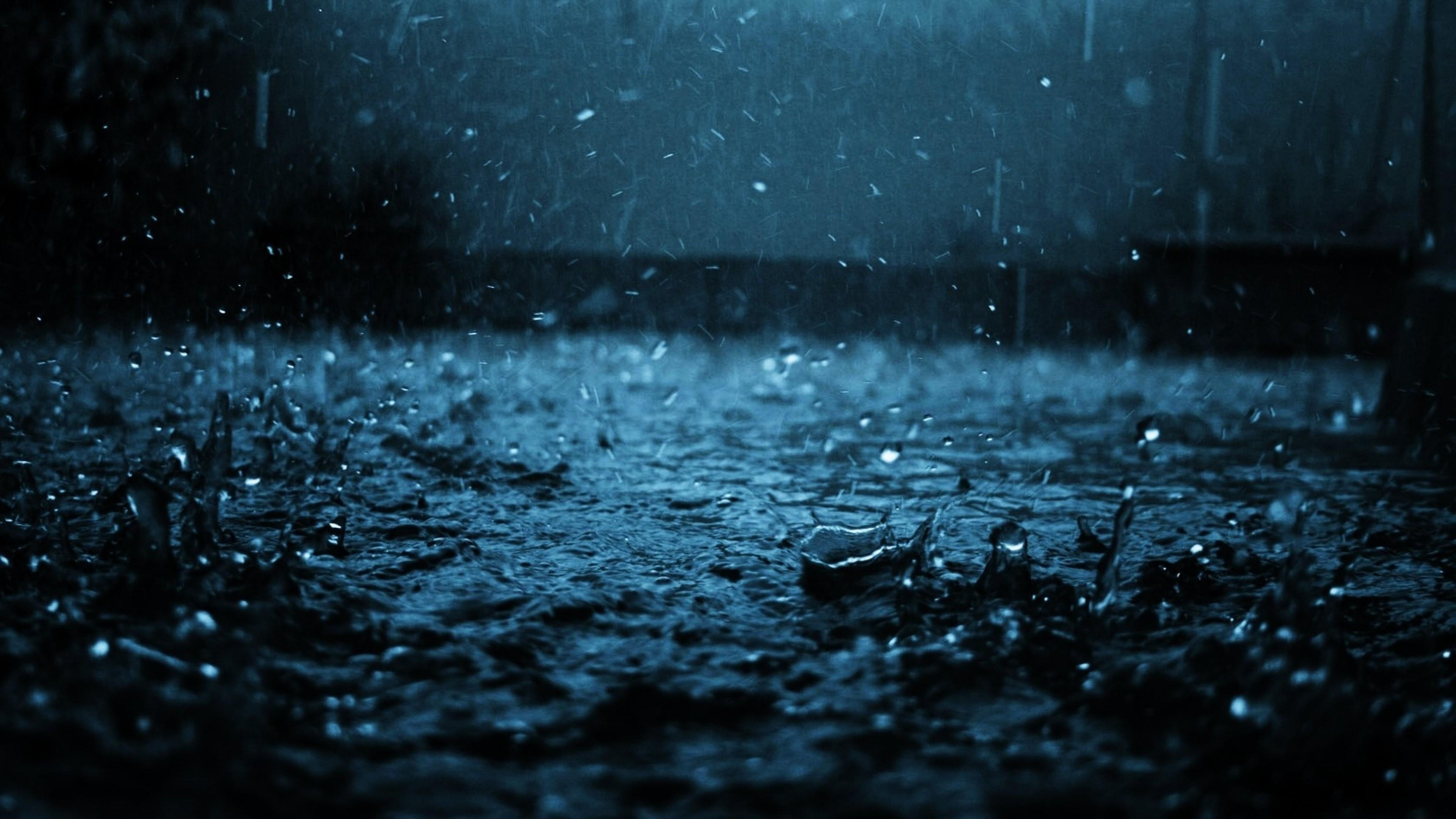 Wallpaper close-up, drop, black, blue, rain