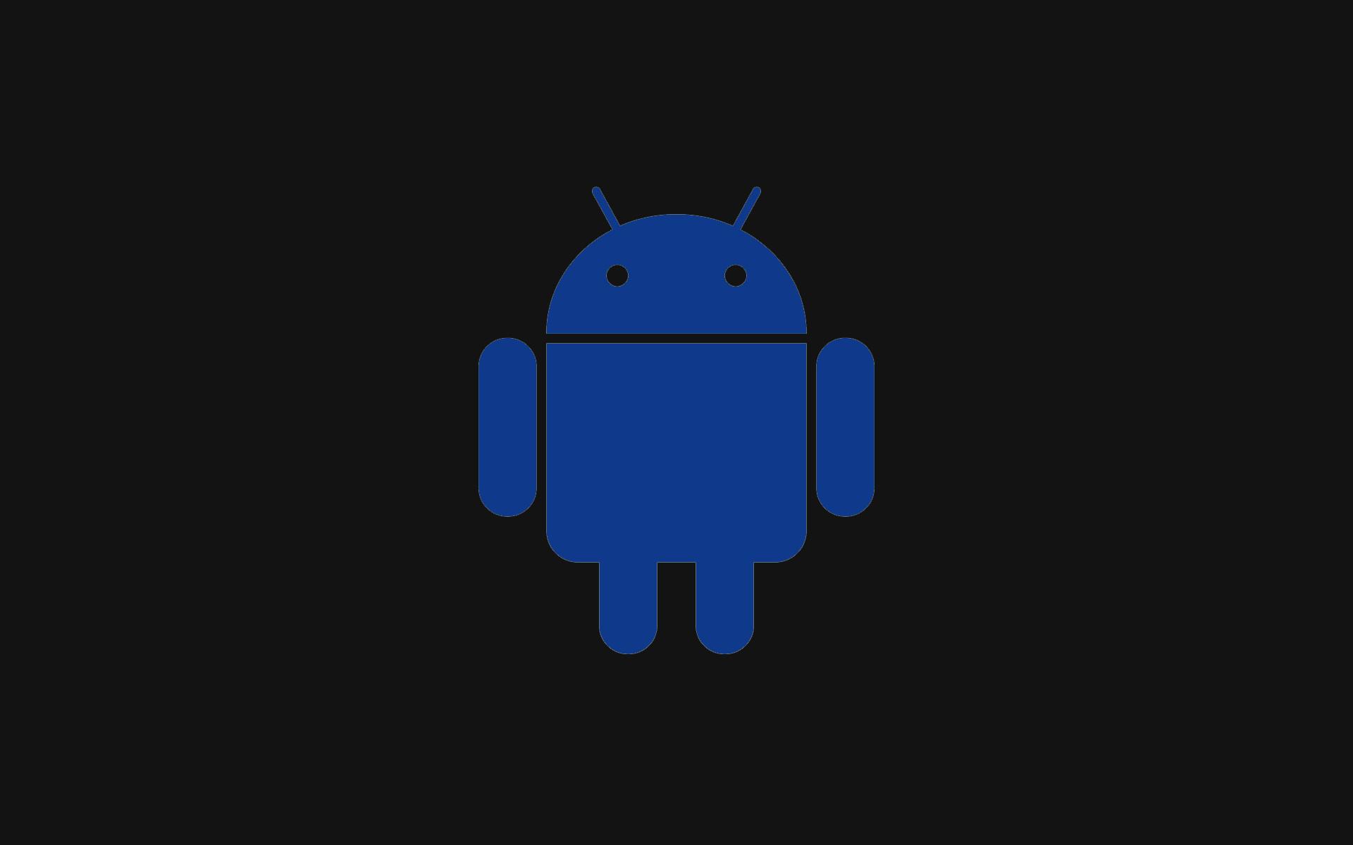 Blue Android And Black Background Wallpaper Desktop.