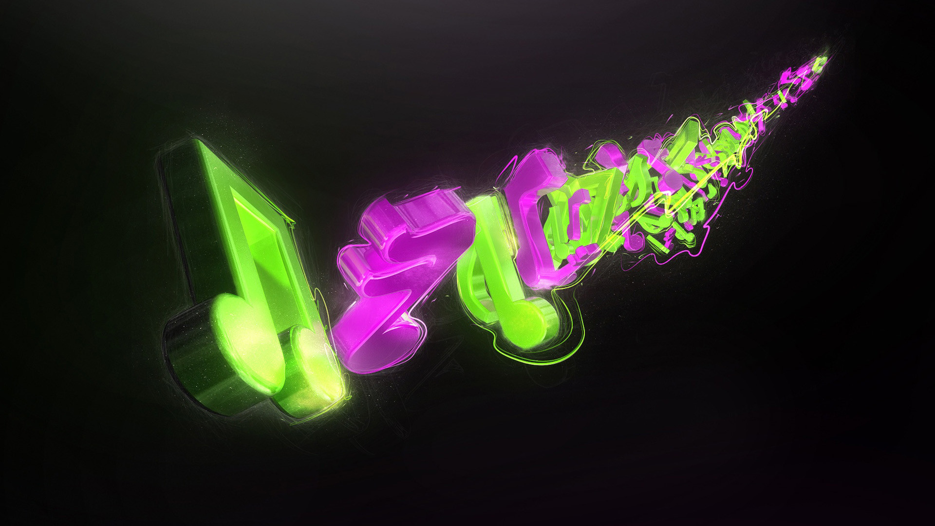 Abstract musical notes Wallpapers, Green Backgrounds, Pictures and .