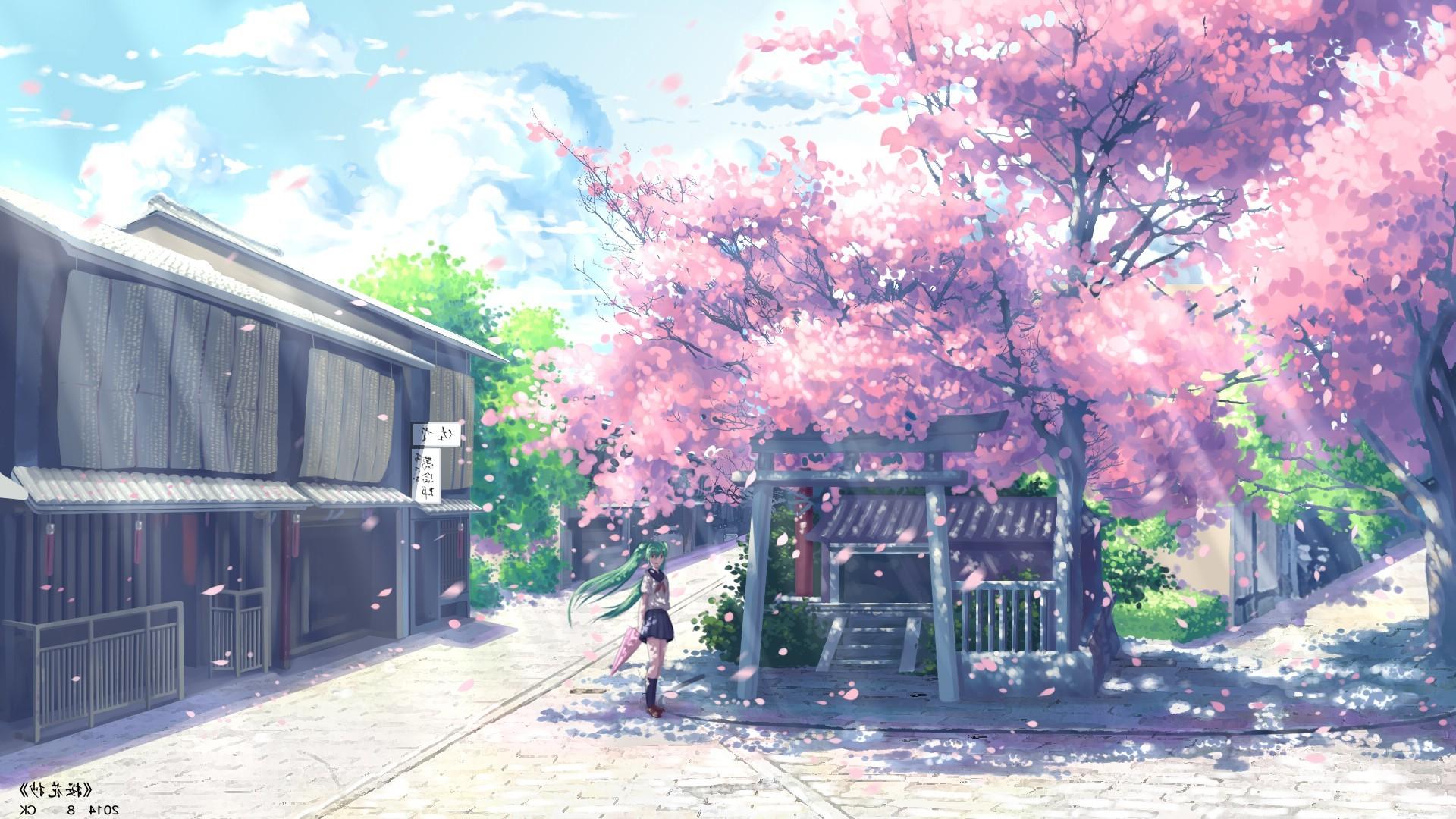 anime hatsune miku vocaloid cherry blossom wallpaper hd