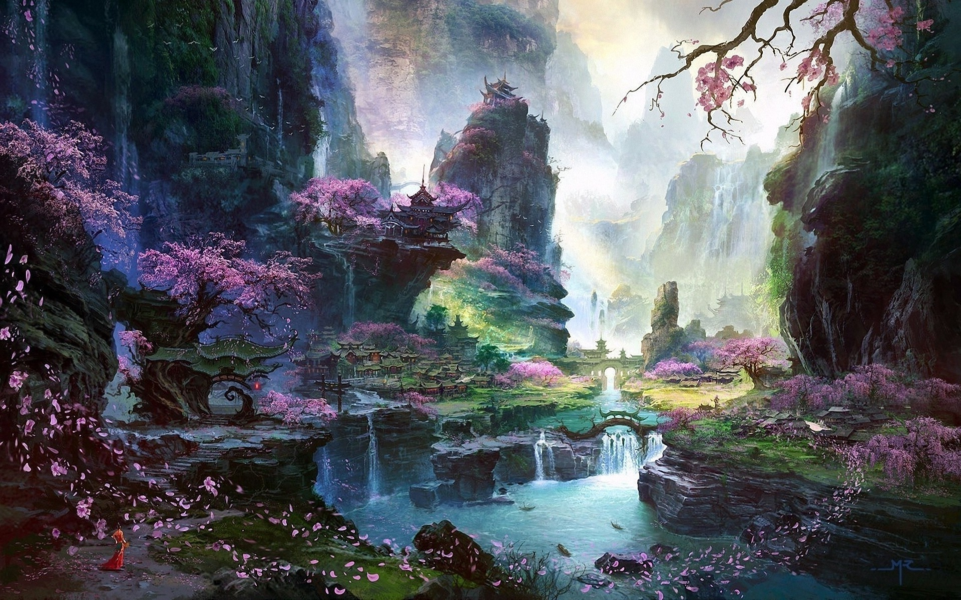 Download HD fantasy Art, Asian Architecture, Cherry Blossom Wallpapers