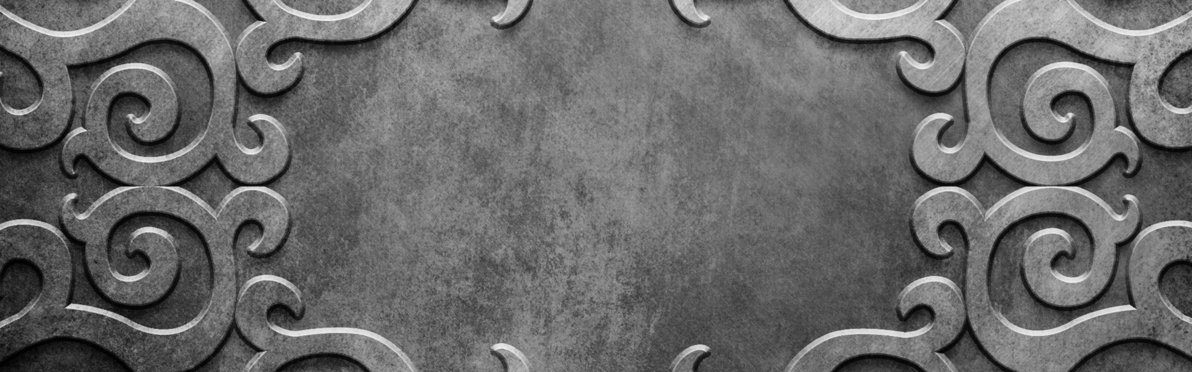 Preview wallpaper metal, patterns, lines, silver, background 3840×1200