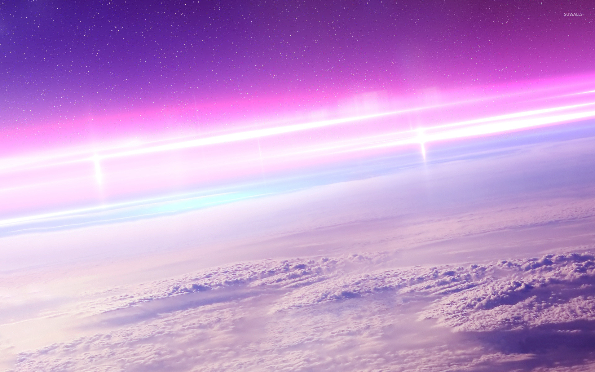 Pink sunrise above the fluffy clouds wallpaper jpg