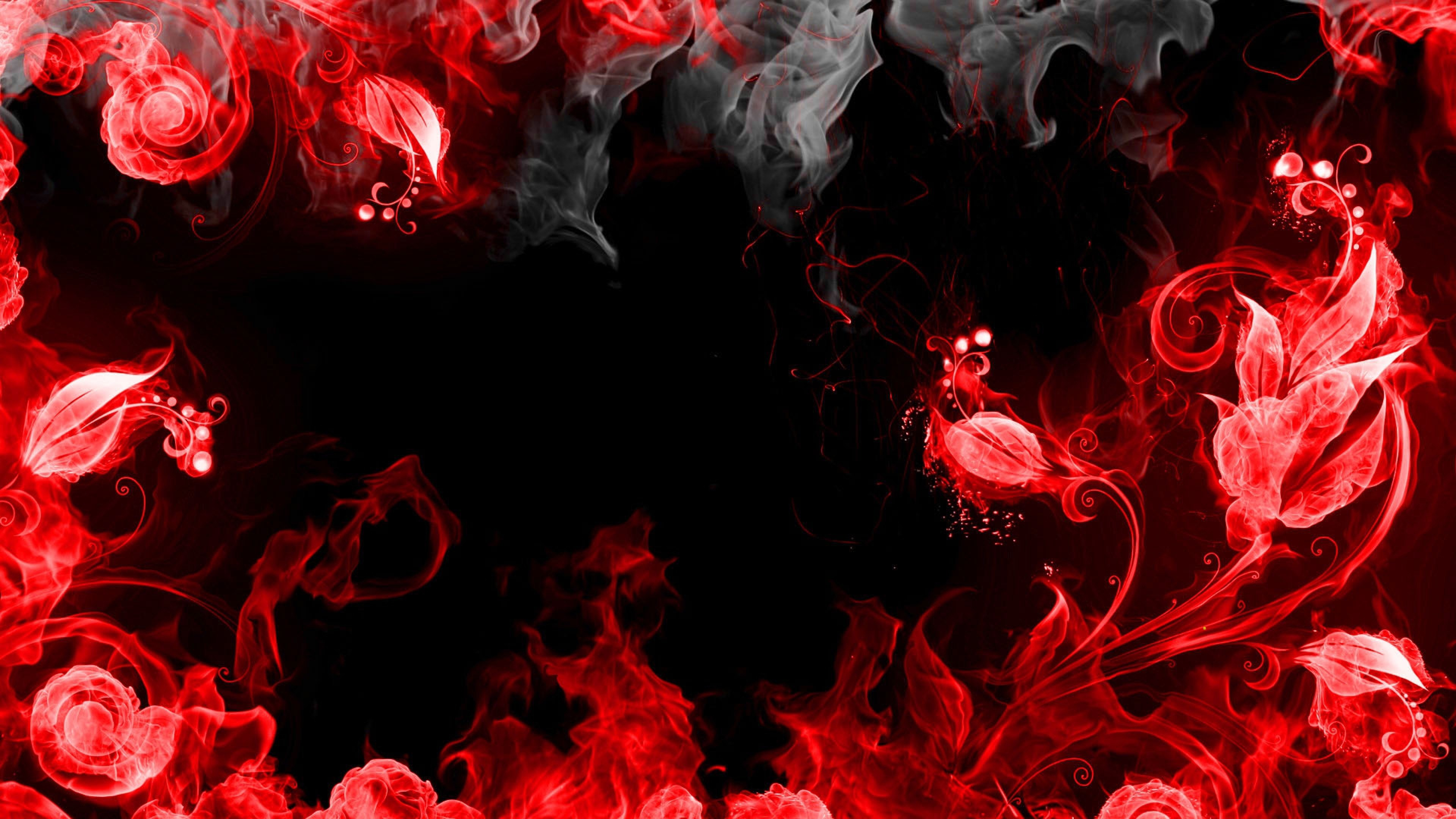 Wallpaper abstraction, red, smoke, black