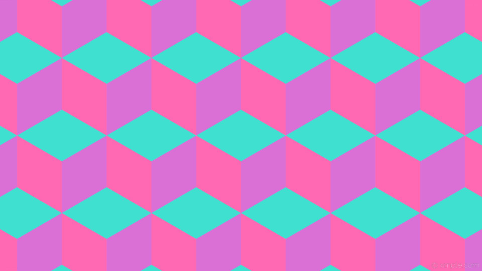 wallpaper purple blue pink 3d cubes turquoise hot pink orchid #40e0d0  #ff69b4 #da70d6