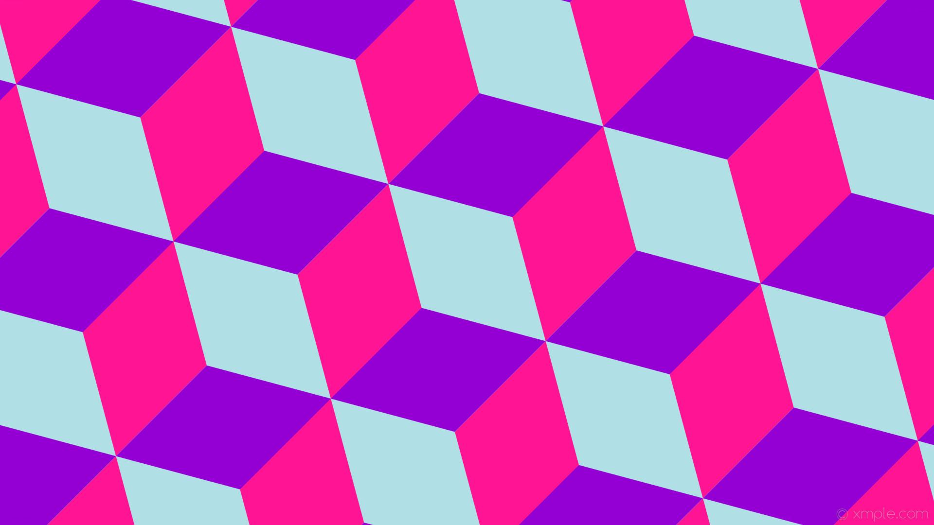 wallpaper blue purple pink 3d cubes powder blue deep pink dark violet  #b0e0e6 #ff1493