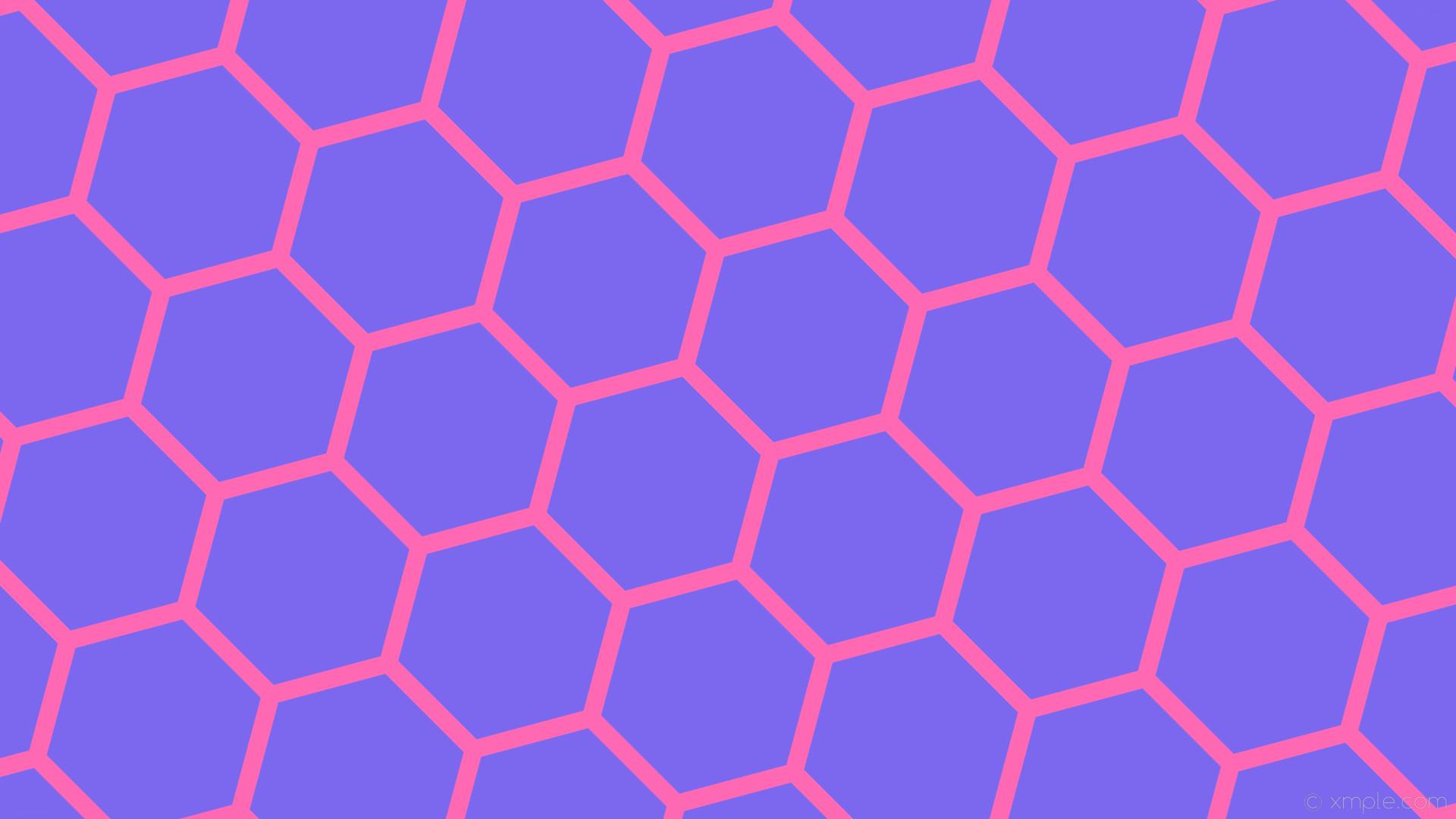 wallpaper purple honeycomb beehive hexagon pink medium slate blue hot pink  #7b68ee #ff69b4 diagonal