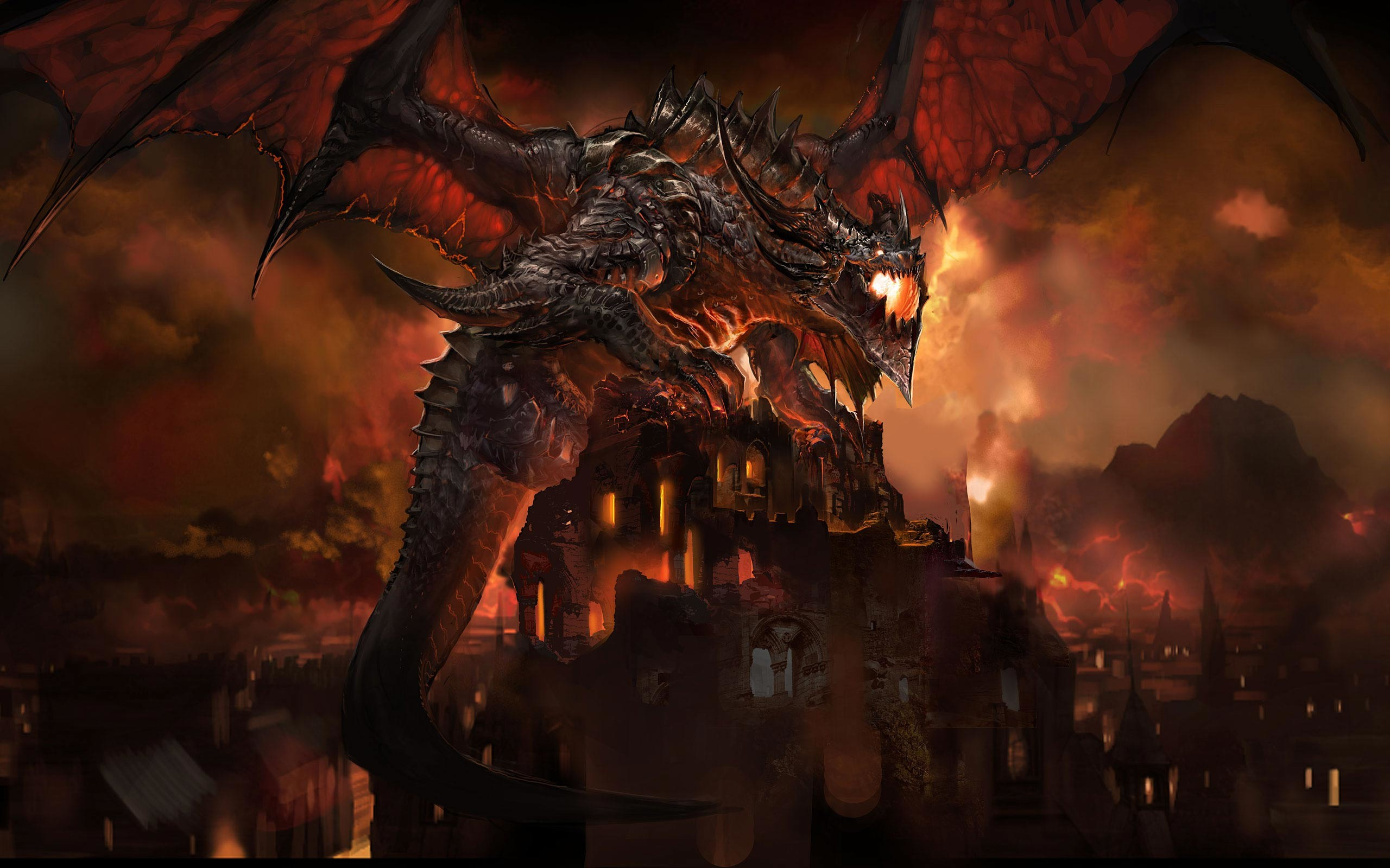 Video Game World Of Warcraft Dragon Sky Fire Deathwing Wallpaper